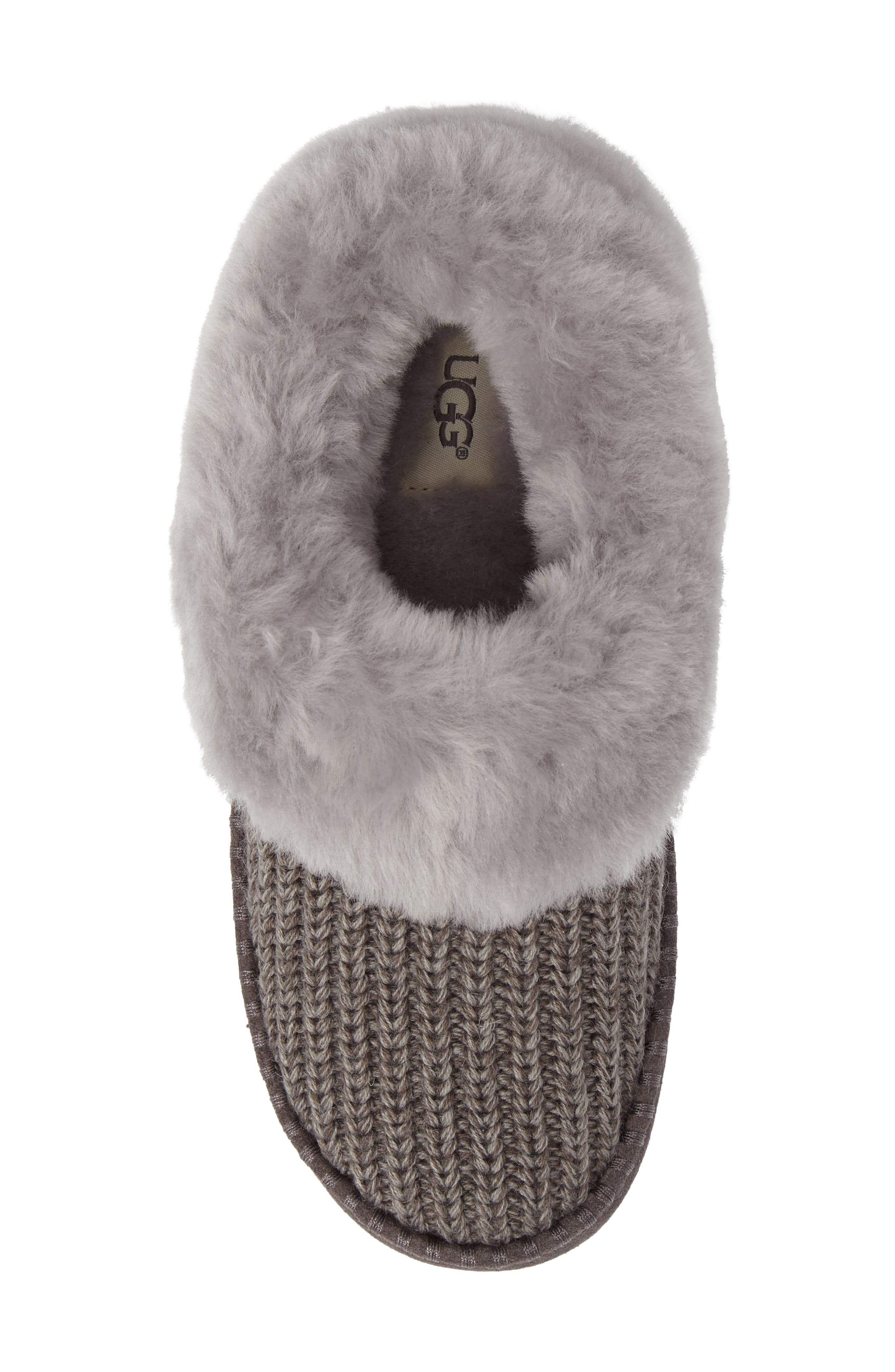 Wrin Rib-Knit & Genuine Shearling Slipper,                             Alternate thumbnail 5, color,                             020