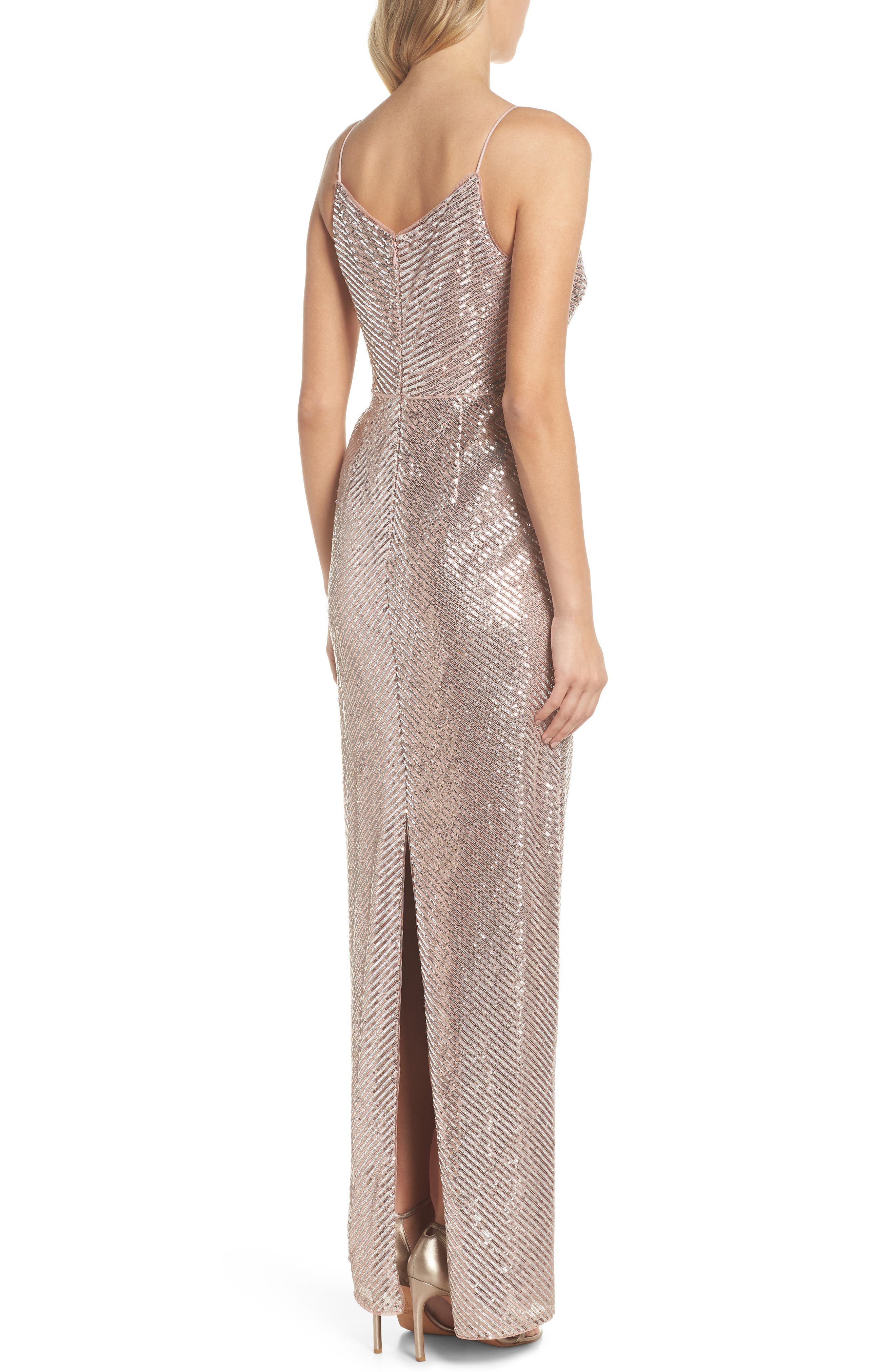 ADRIANNA PAPELL,                             Stripe Sequin Gown,                             Alternate thumbnail 2, color,                             680