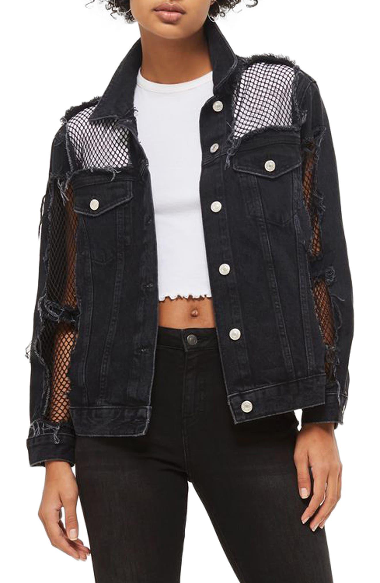 Fishnet Detail Oversize Denim Jacket,                         Main,                         color, 001