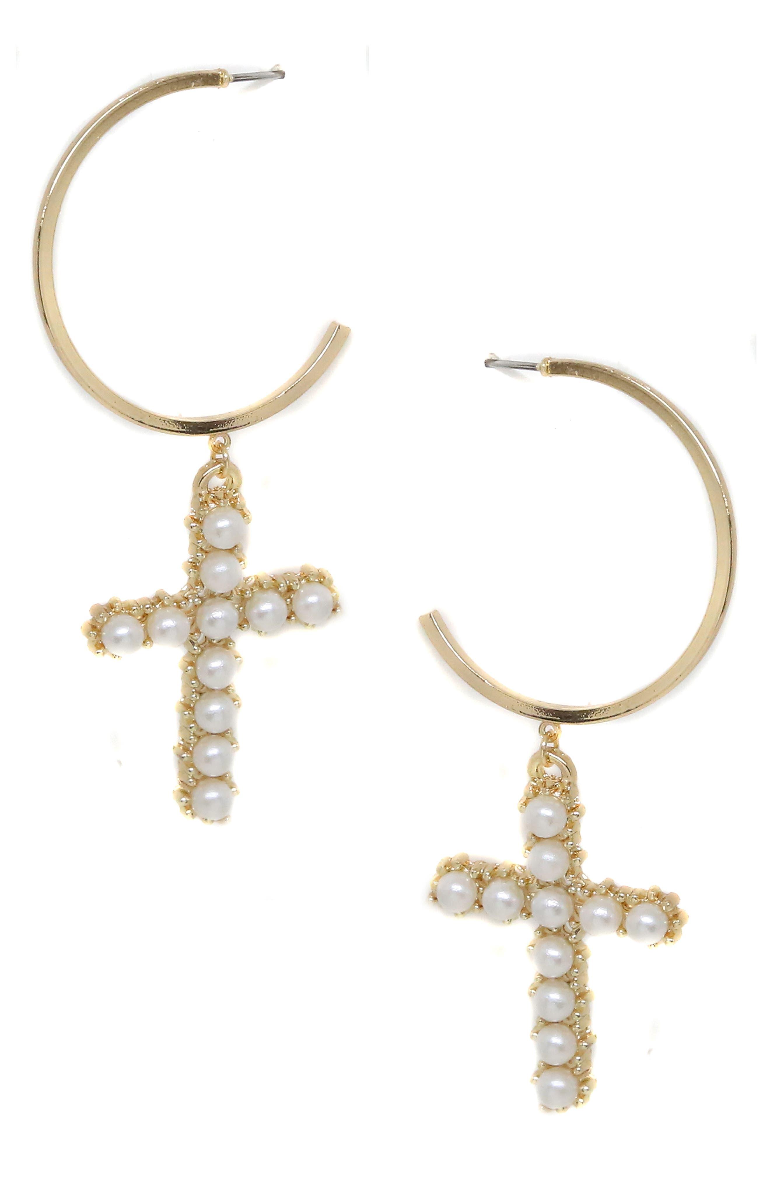 ETTIKA Imitation Pearl Cross & Hoop Earrings in Gold