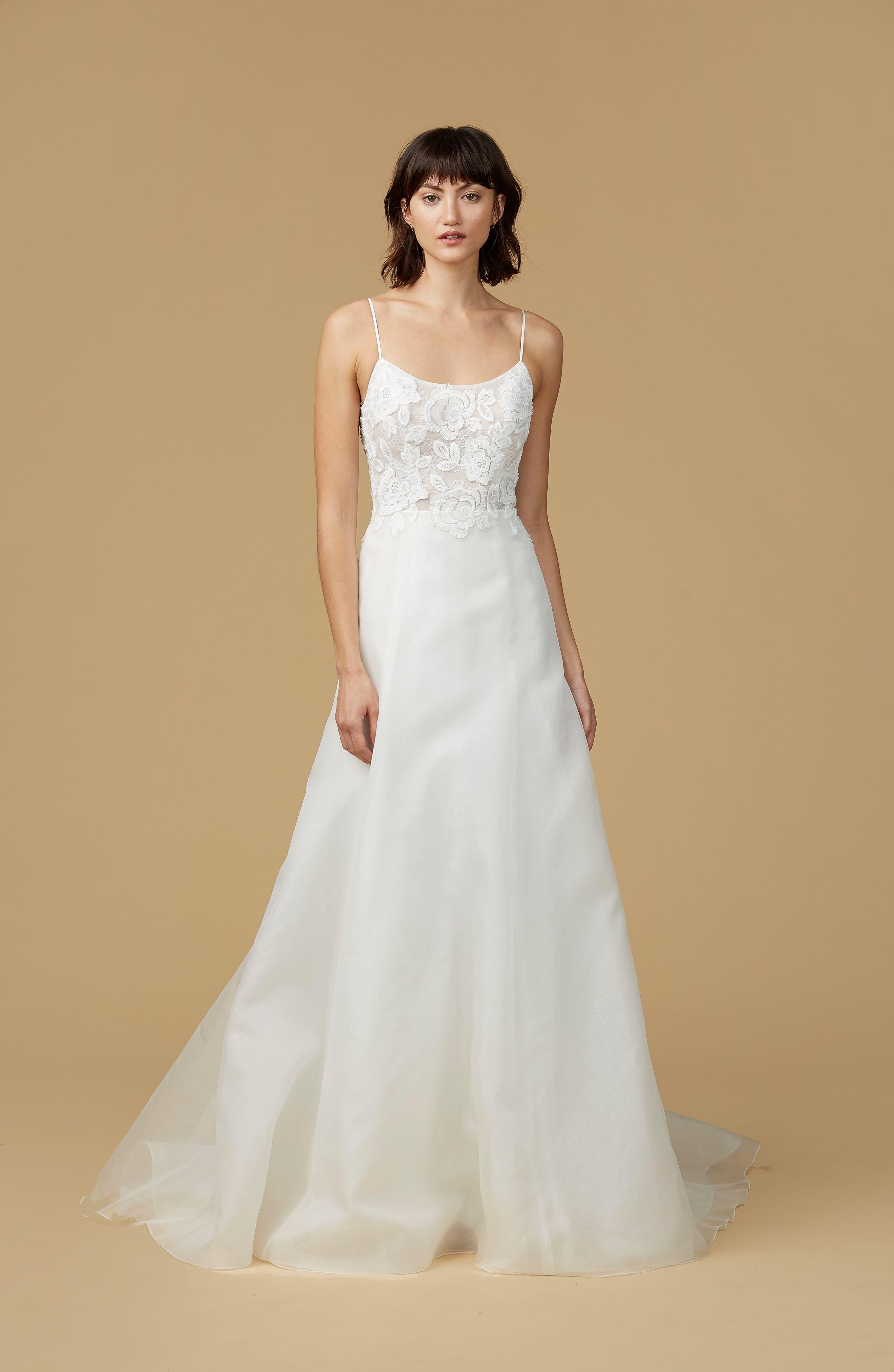 Viv Lace Appliqué Silk Organza A-Line Gown,                         Main,                         color, 900