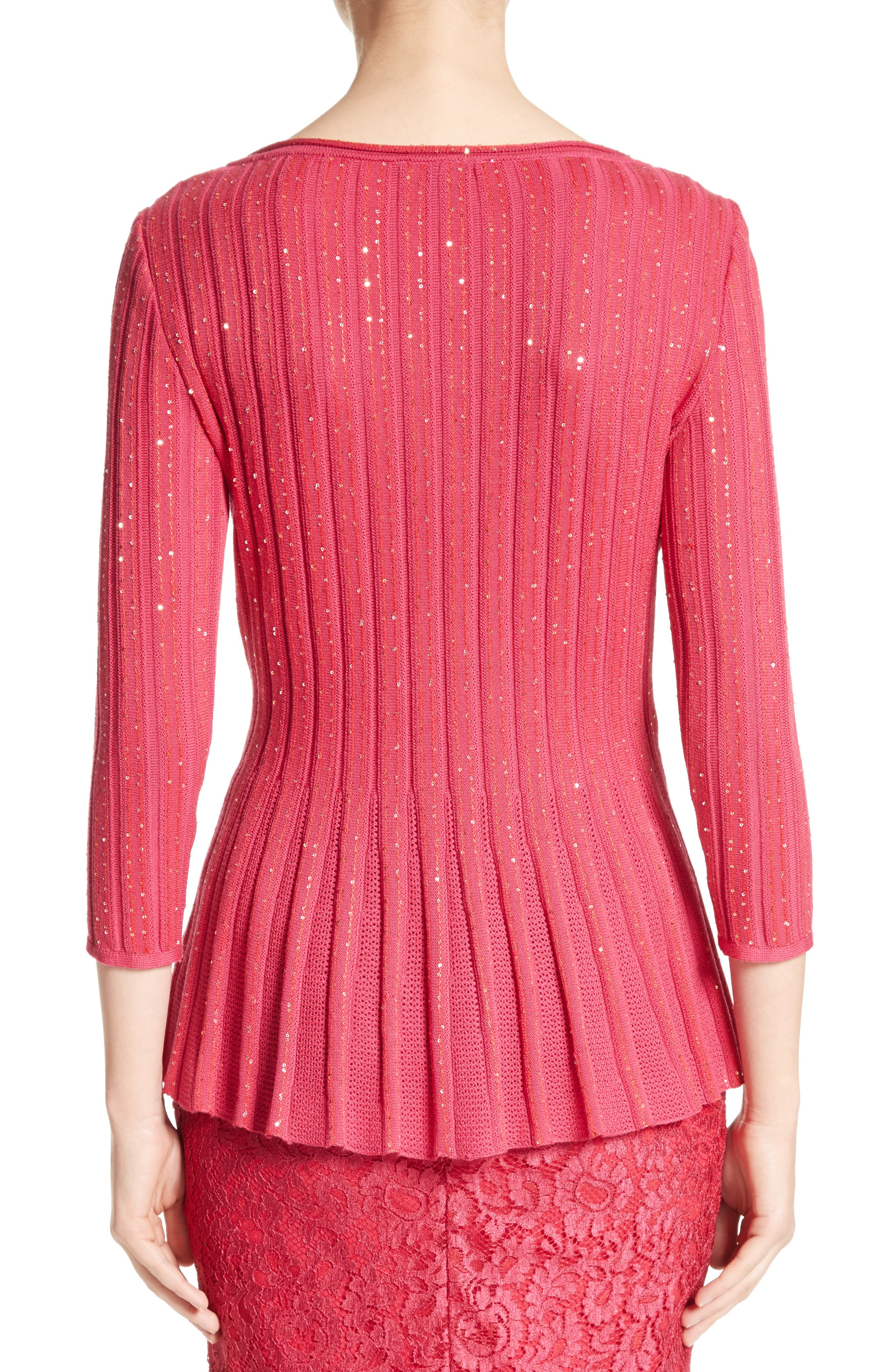 Chriag Sequin Knit Peplum Top,                             Alternate thumbnail 2, color,
