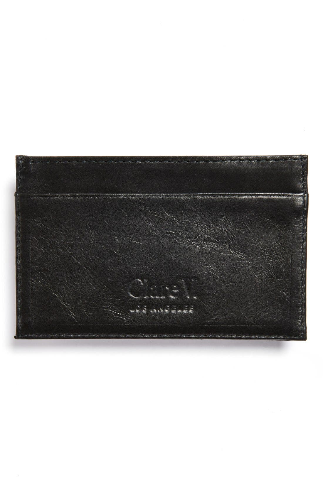 CLARE V.,                             Mike's Leather Card Case,                             Alternate thumbnail 2, color,                             001
