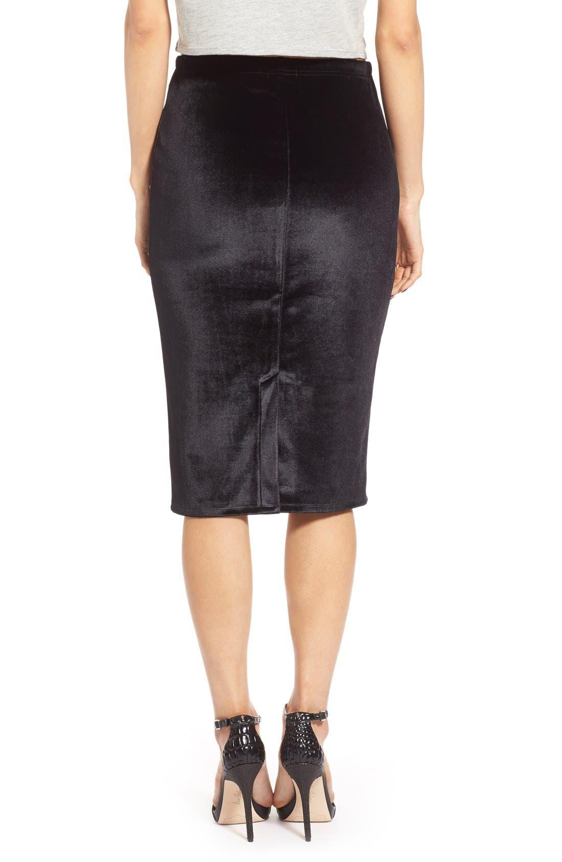 LEITH,                             Velour Pencil Skirt,                             Alternate thumbnail 5, color,                             001