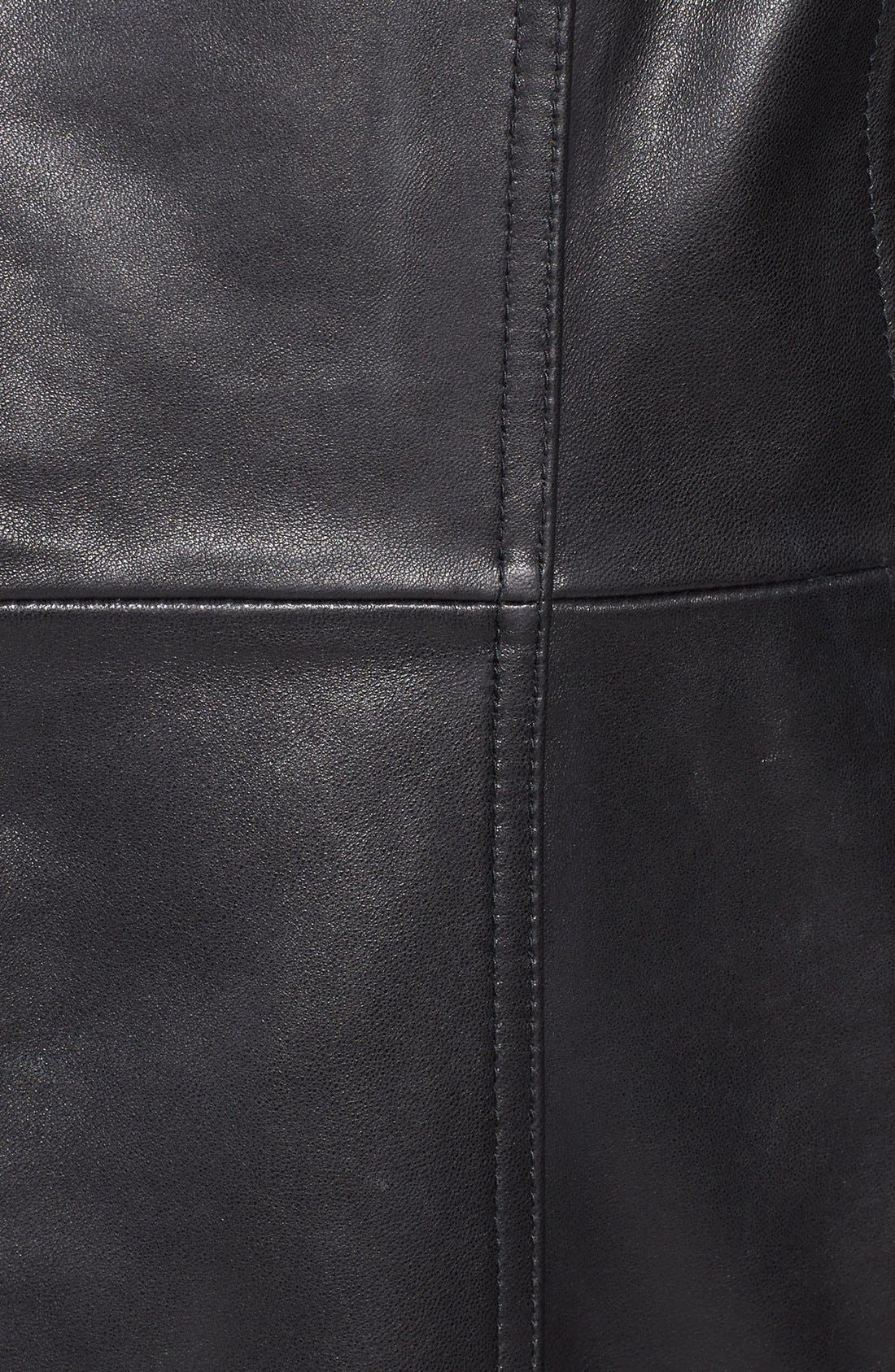 Leather Walking Coat,                             Alternate thumbnail 3, color,                             001