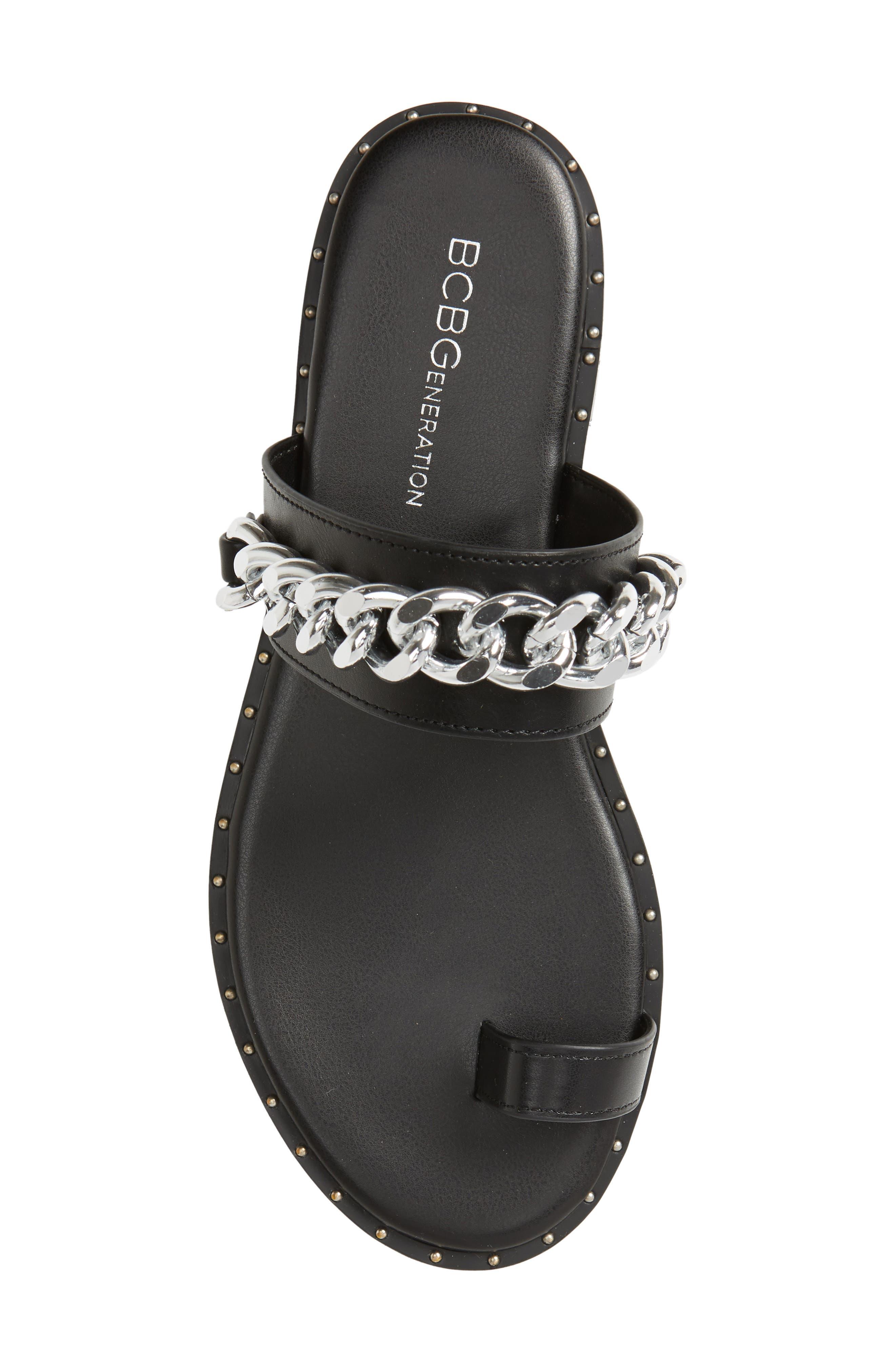 Zola Chain Slide Sandal,                             Alternate thumbnail 5, color,                             BLACK