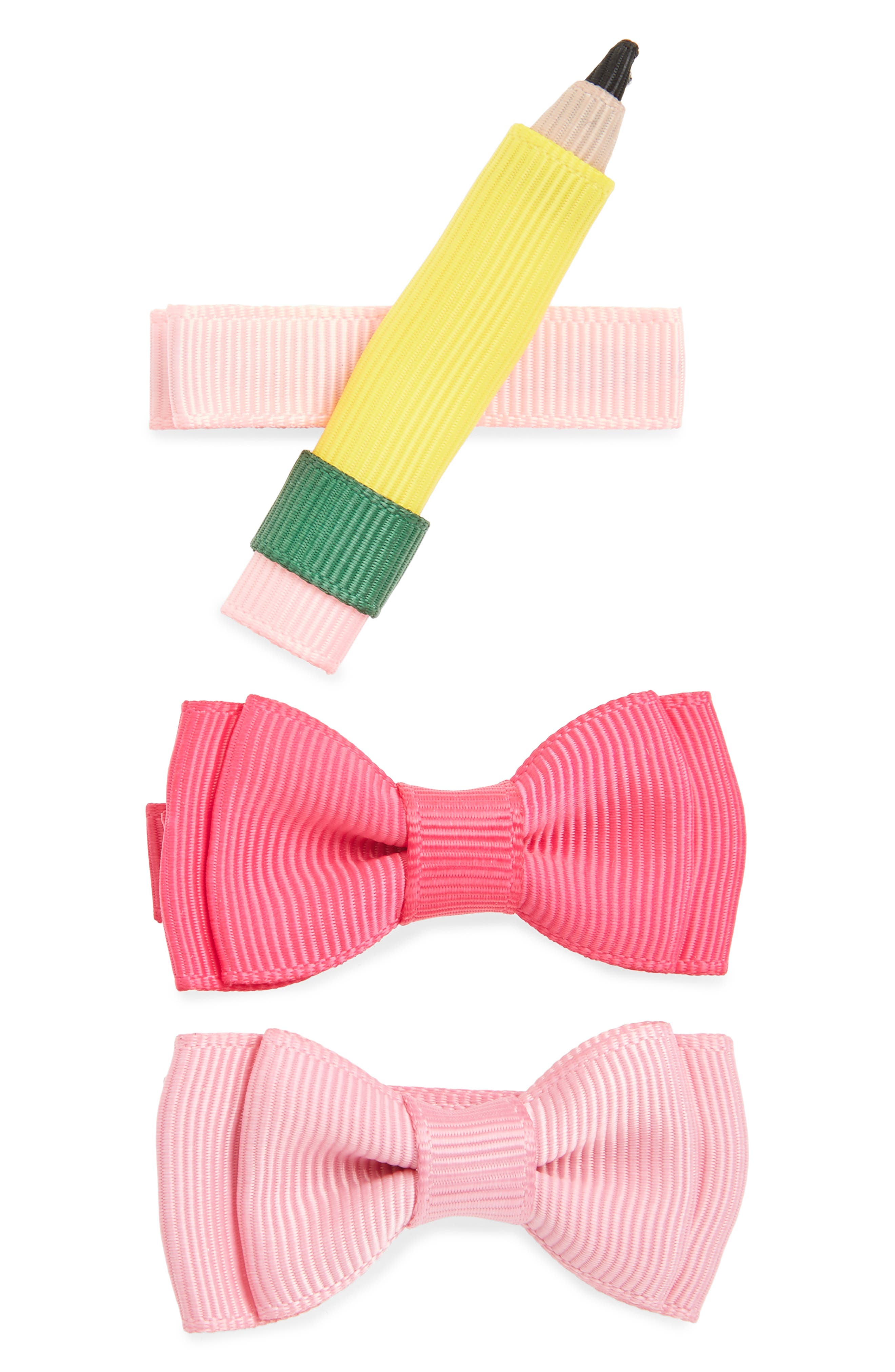 Set of 3 Back to School Hair Clips,                             Main thumbnail 1, color,                             ASSORTED