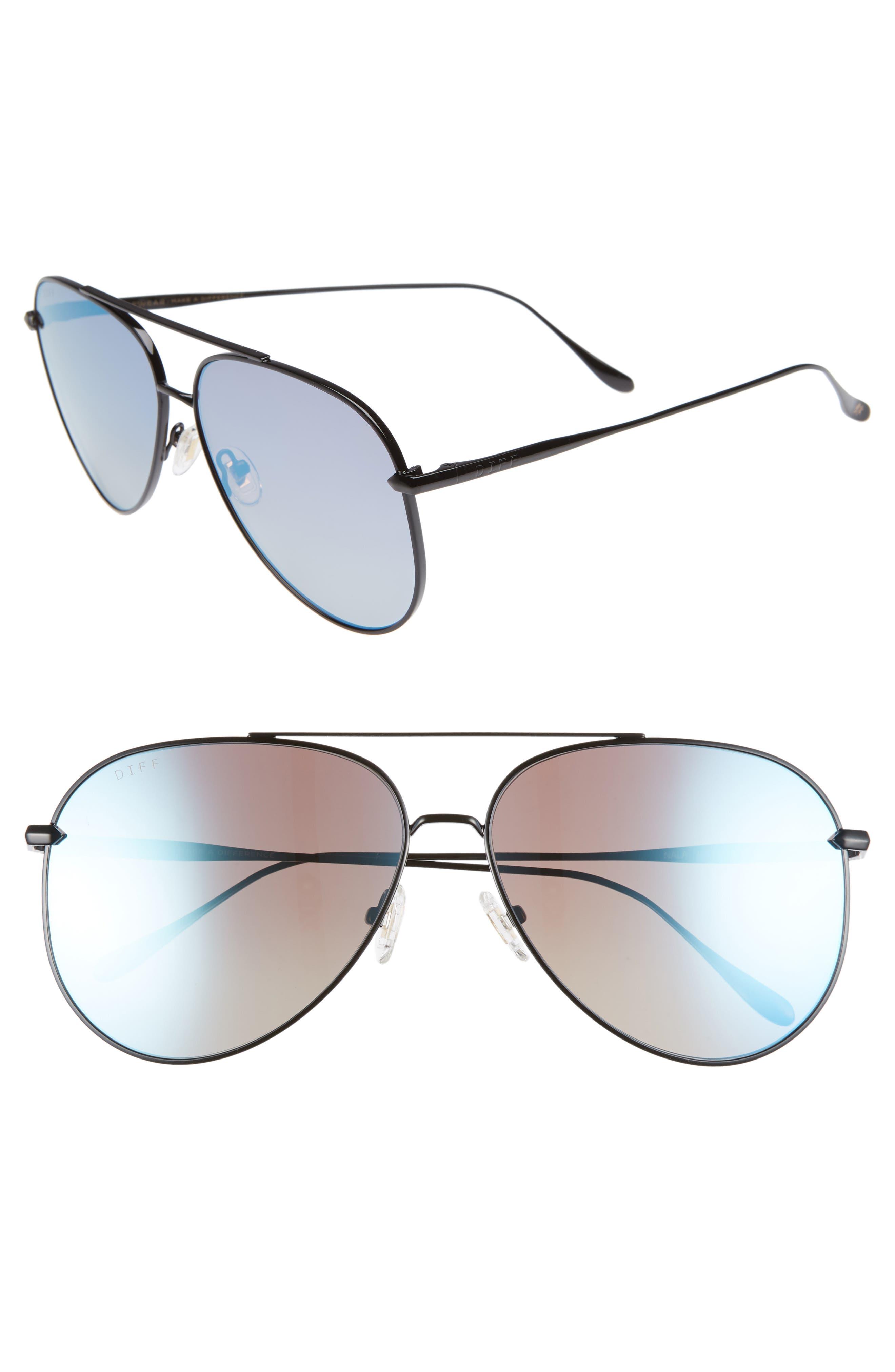 Nala 60mm Polarized Aviator Sunglasses,                             Main thumbnail 1, color,                             BLACK/ SMOKE