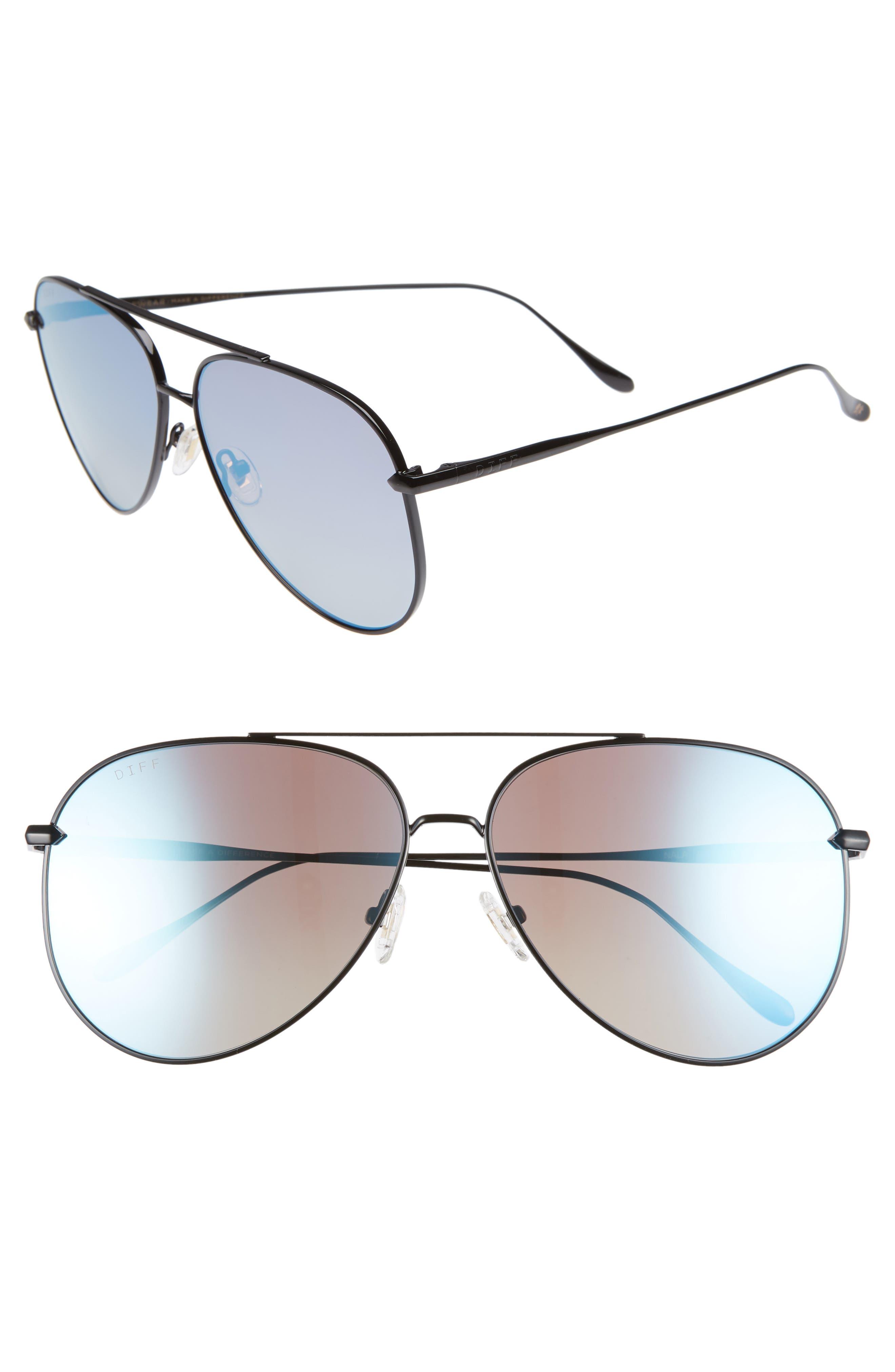 Nala 60mm Polarized Aviator Sunglasses,                         Main,                         color, BLACK/ SMOKE