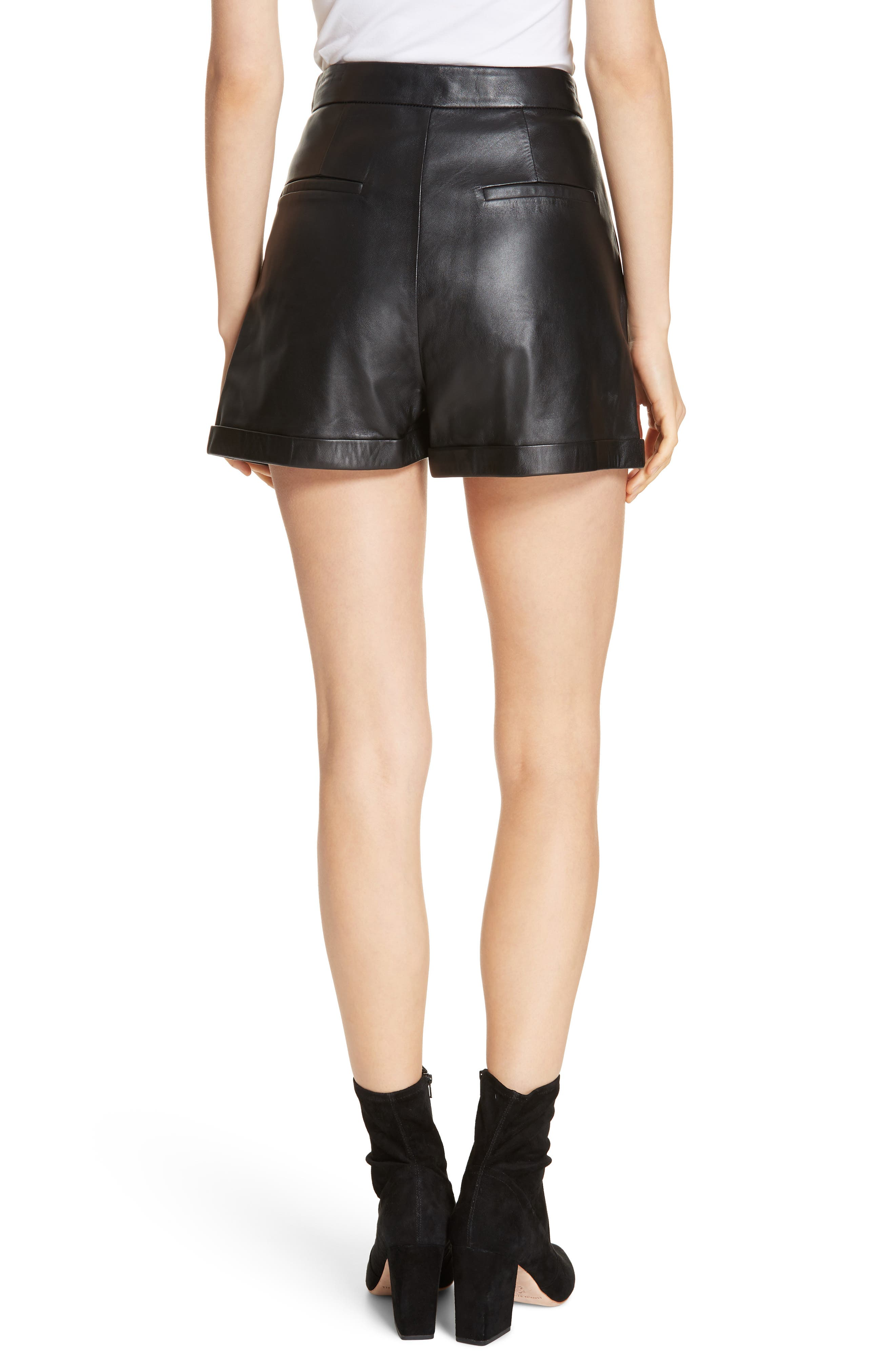 Pleated Leather Shorts,                             Alternate thumbnail 2, color,                             NOIR