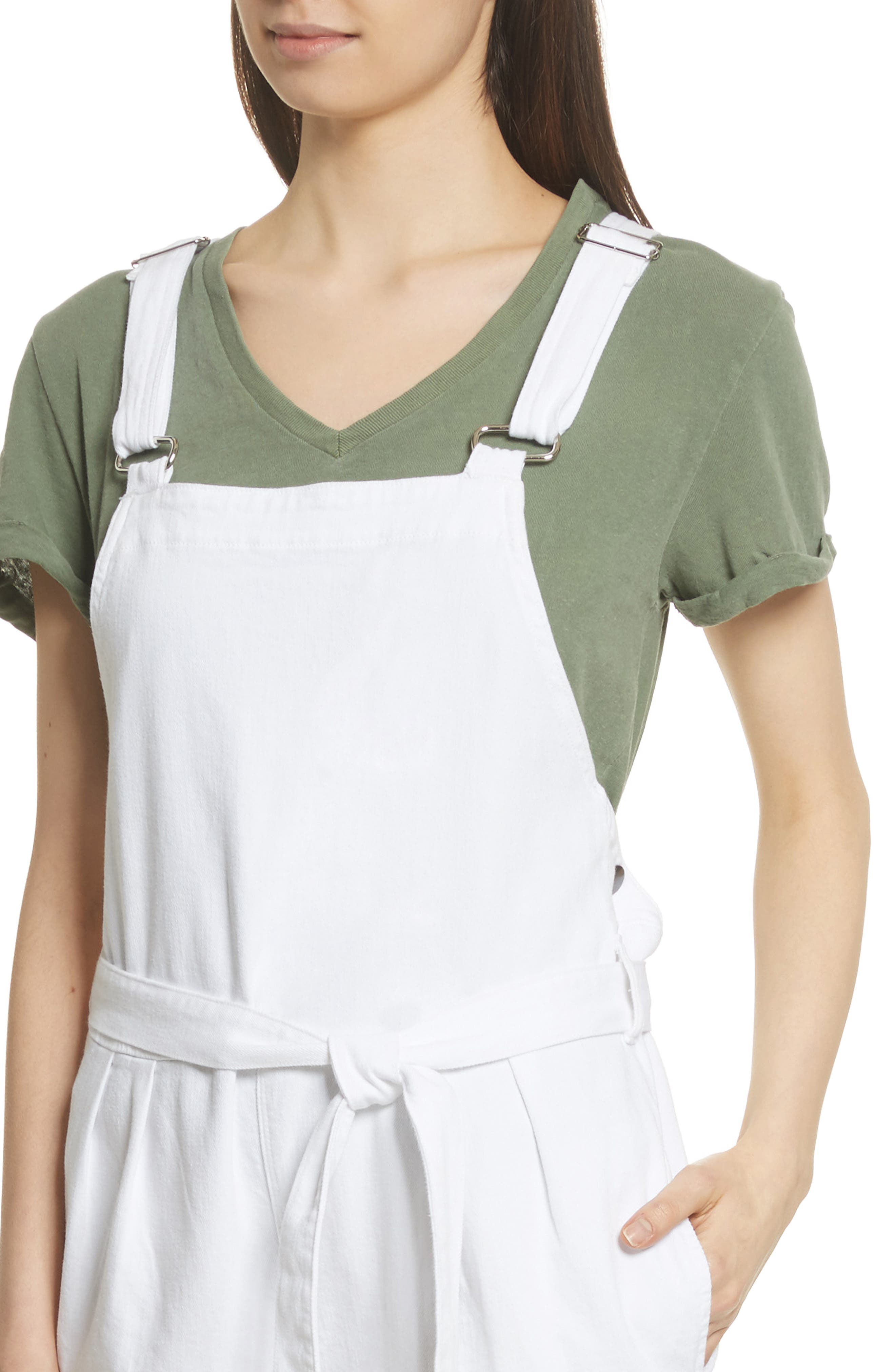 Le Paperbag Belted Denim Overalls,                             Alternate thumbnail 4, color,                             199