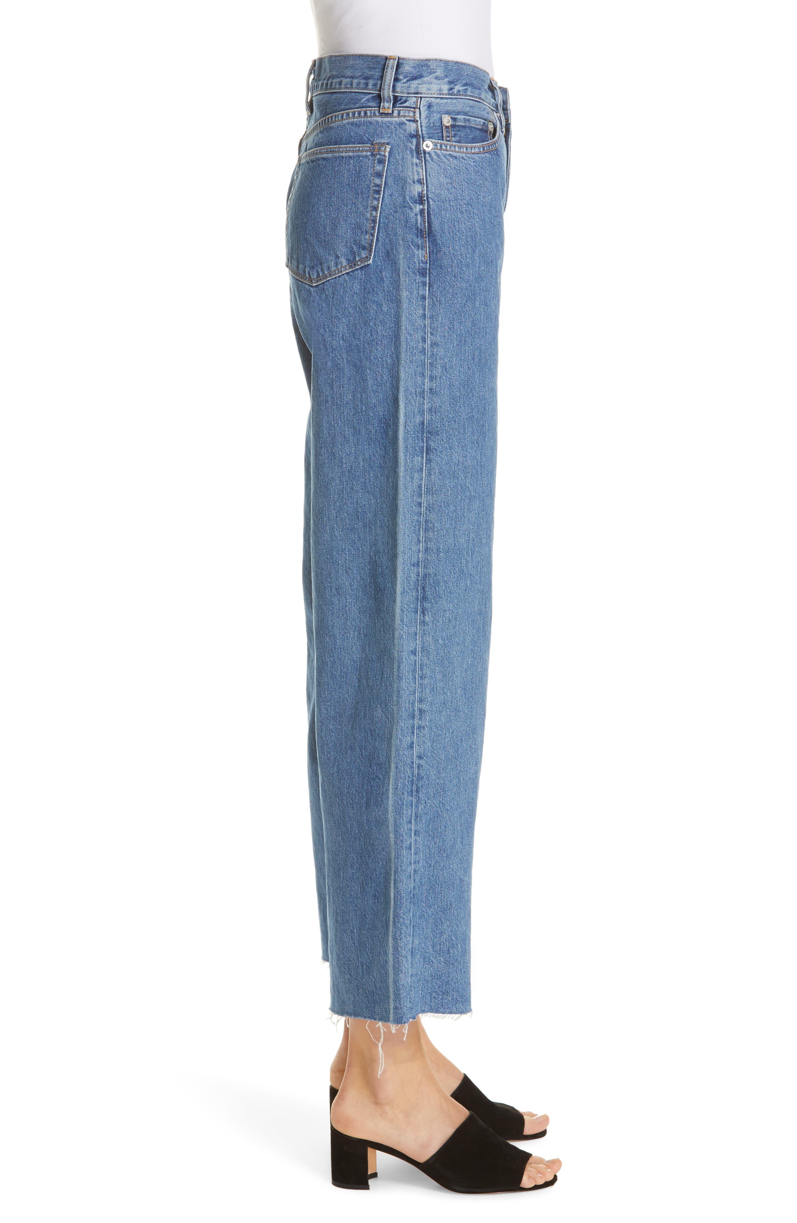 Crop Frayed Wide Leg Jeans,                             Alternate thumbnail 3, color,                             VINTAGE WASH 4