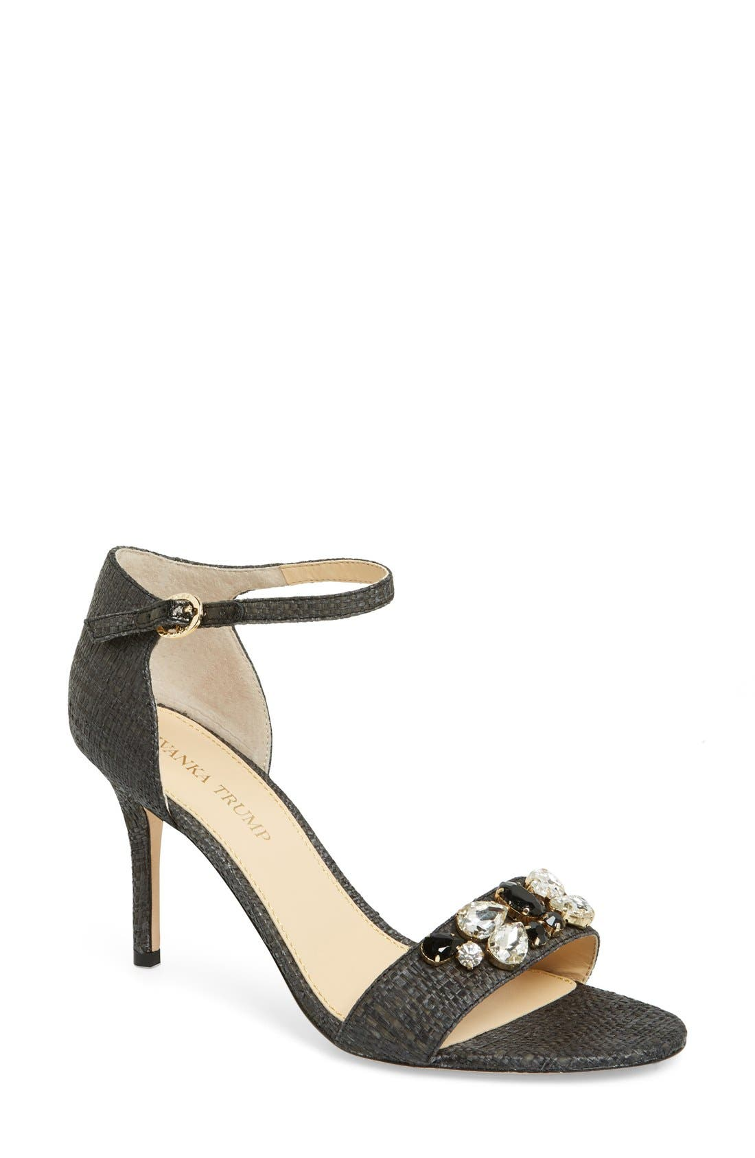 'Gessa' Crystal Embellished Print Sandal,                             Main thumbnail 1, color,                             001