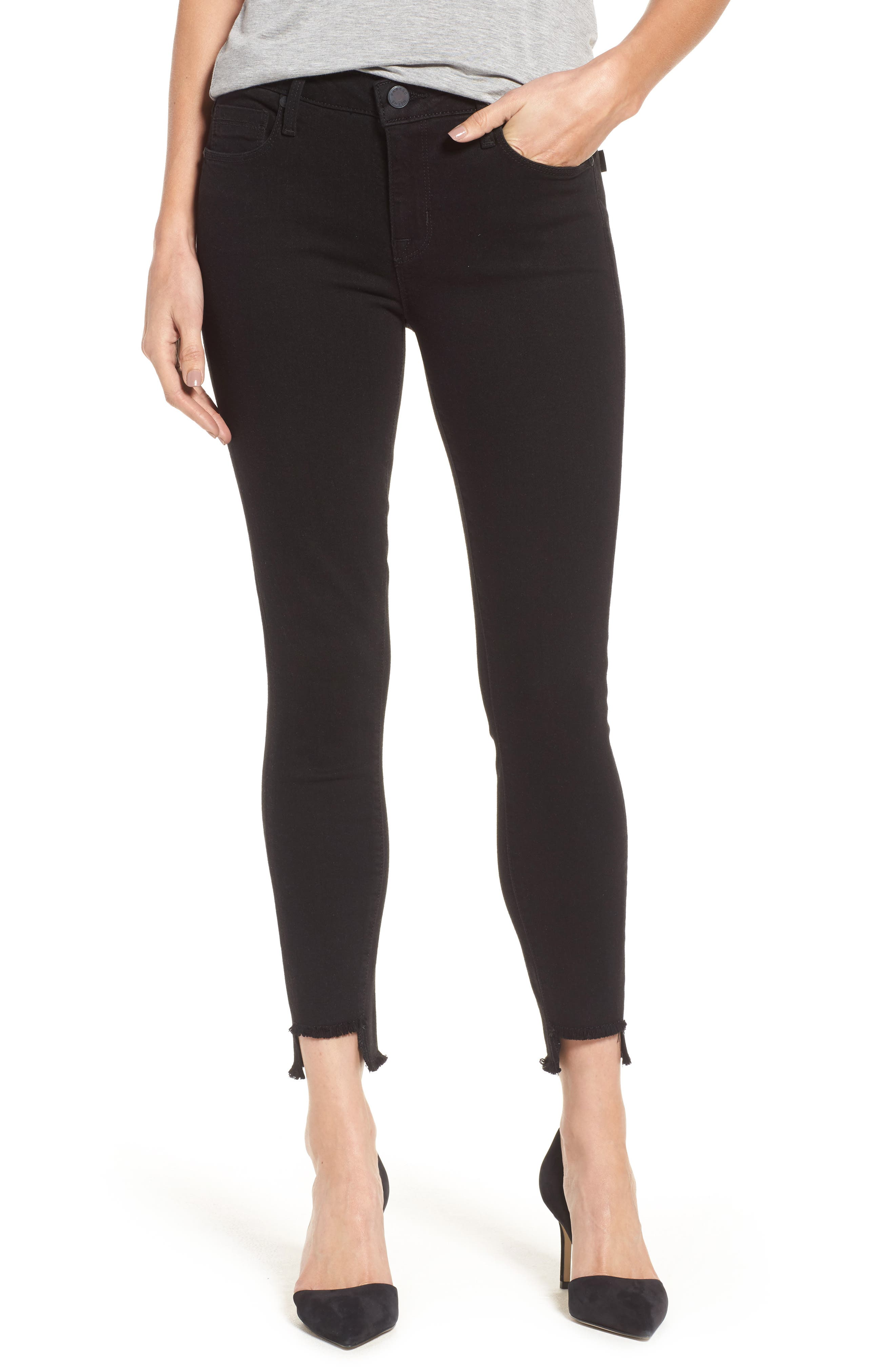 Twisted Seam Ankle Skinny Jeans,                             Main thumbnail 1, color,                             001