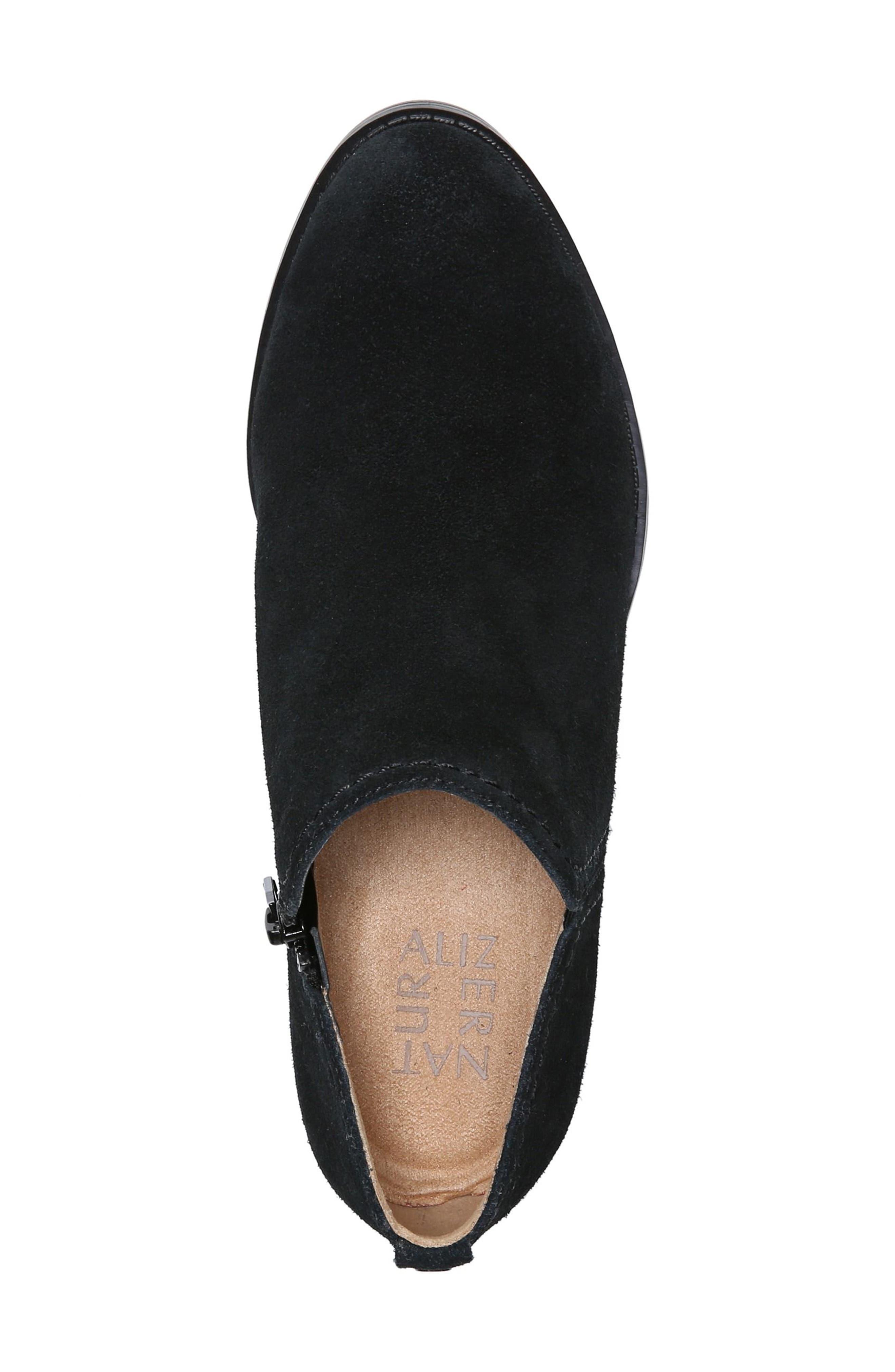 'Zarie' Block Heel Bootie,                             Alternate thumbnail 5, color,                             BLACK SUEDE