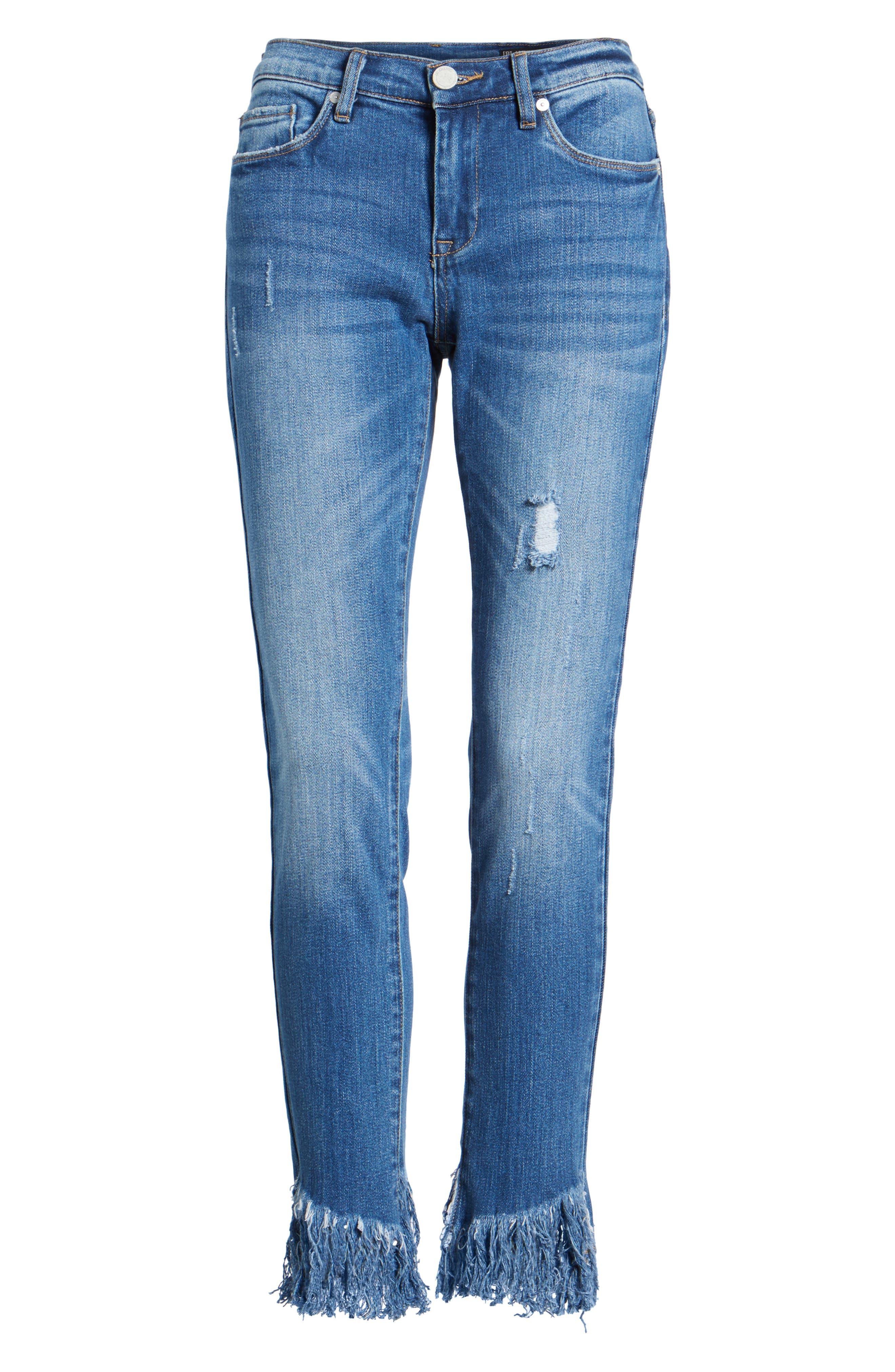Low Key Judging Fray Hem Skinny Jeans,                             Alternate thumbnail 7, color,                             400