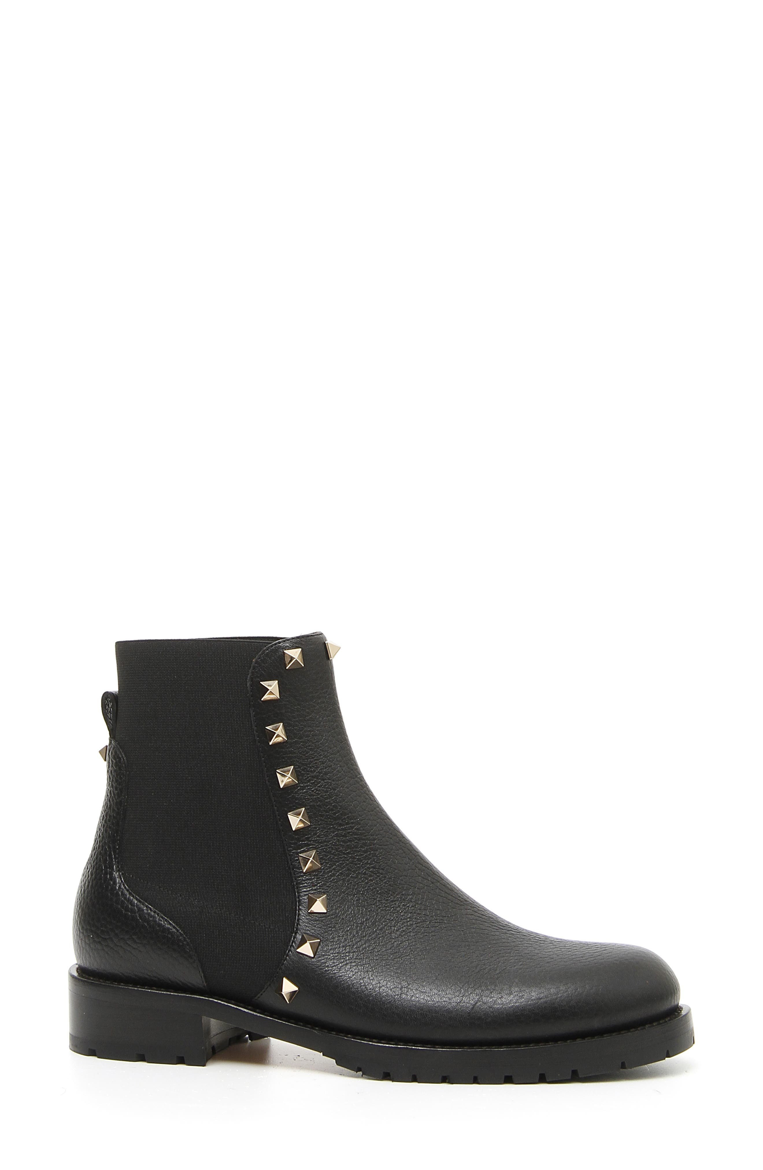 Rockstud Chelsea Boot,                             Main thumbnail 1, color,                             BLACK PEBBLED LEATHER