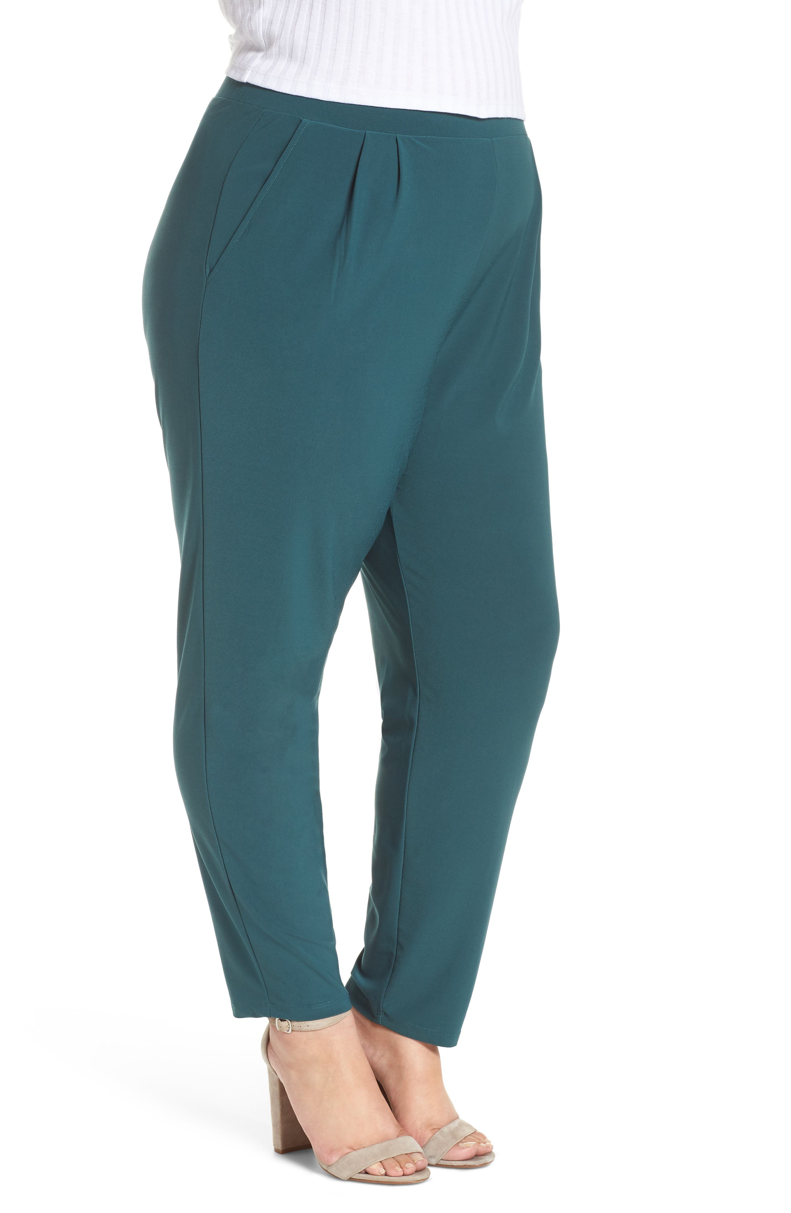 High Rise Pleated Pants,                             Alternate thumbnail 3, color,                             GREEN BUG