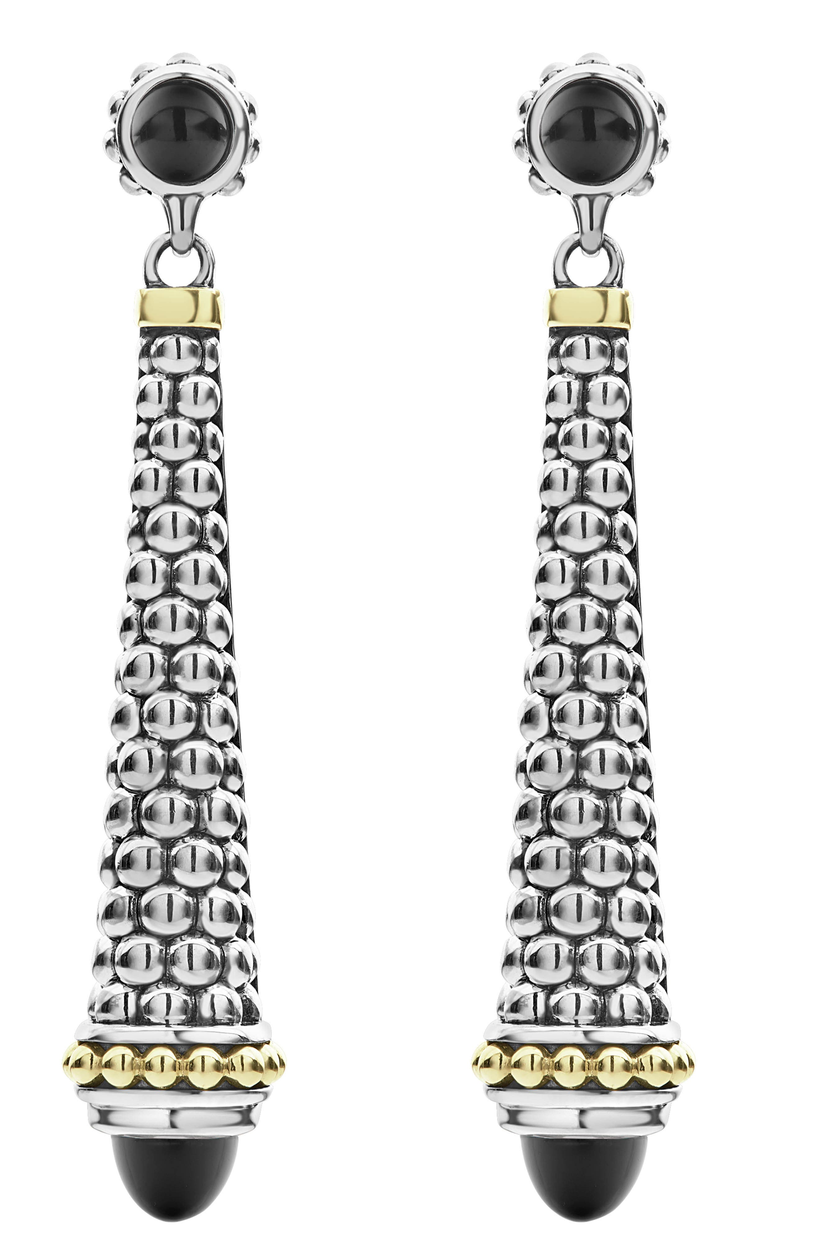 Signature Caviar Stone Cap Drop Earrings,                             Main thumbnail 1, color,                             SILVER/ BLACK ONYX