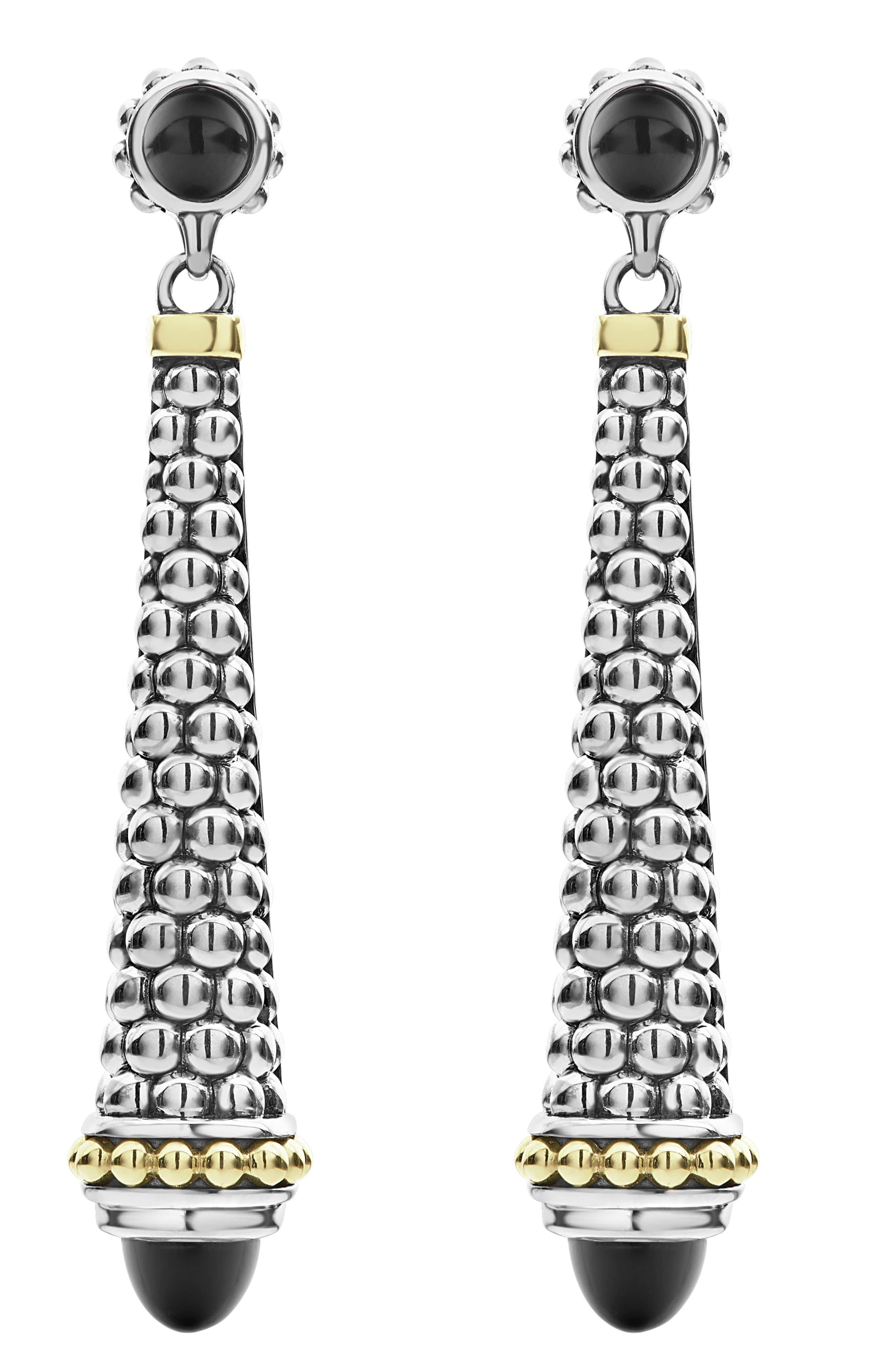 Signature Caviar Stone Cap Drop Earrings,                         Main,                         color, SILVER/ BLACK ONYX