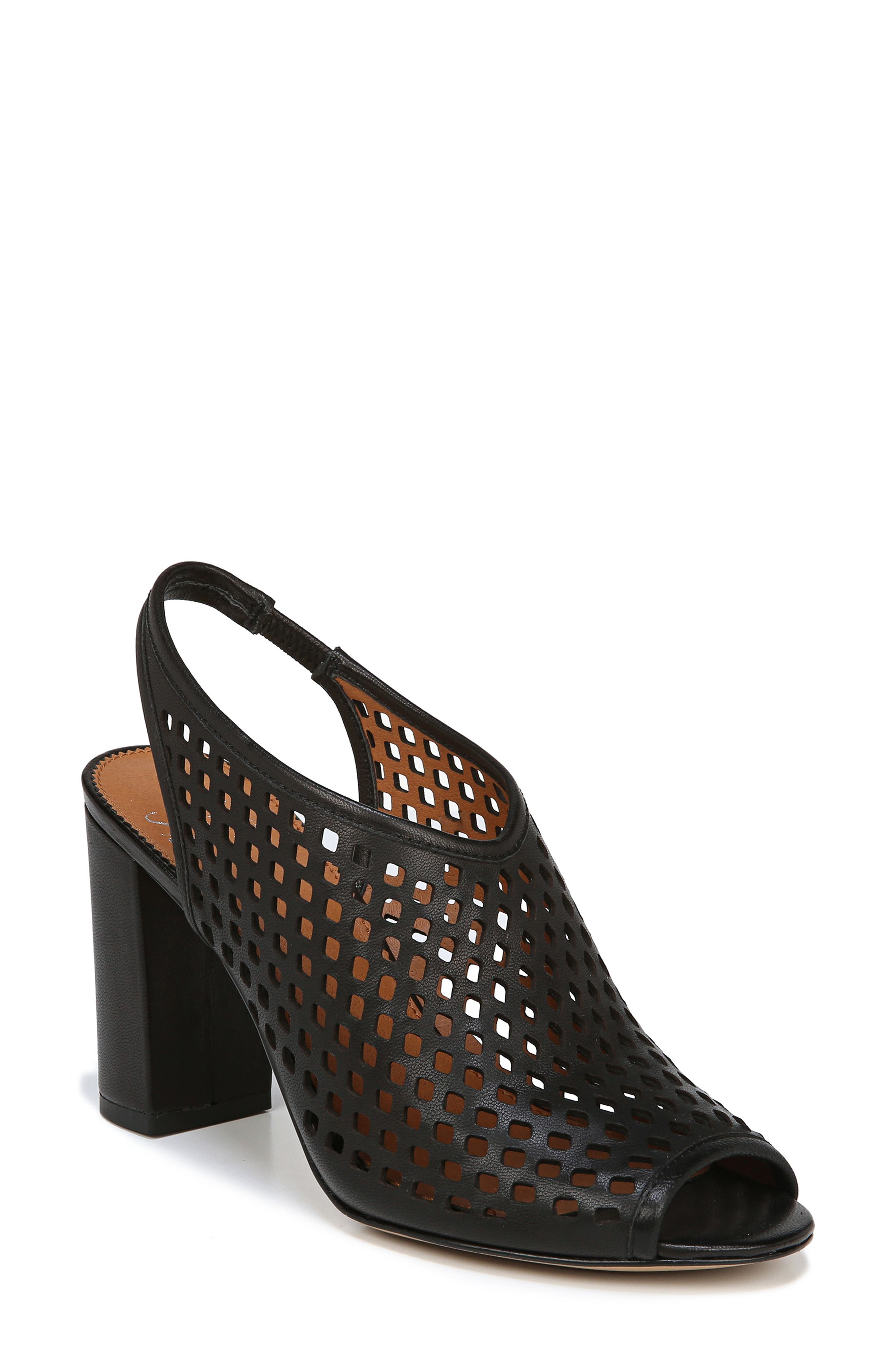 Osbourne Perforated Slingback Sandal,                             Main thumbnail 1, color,                             BLACK LEATHER