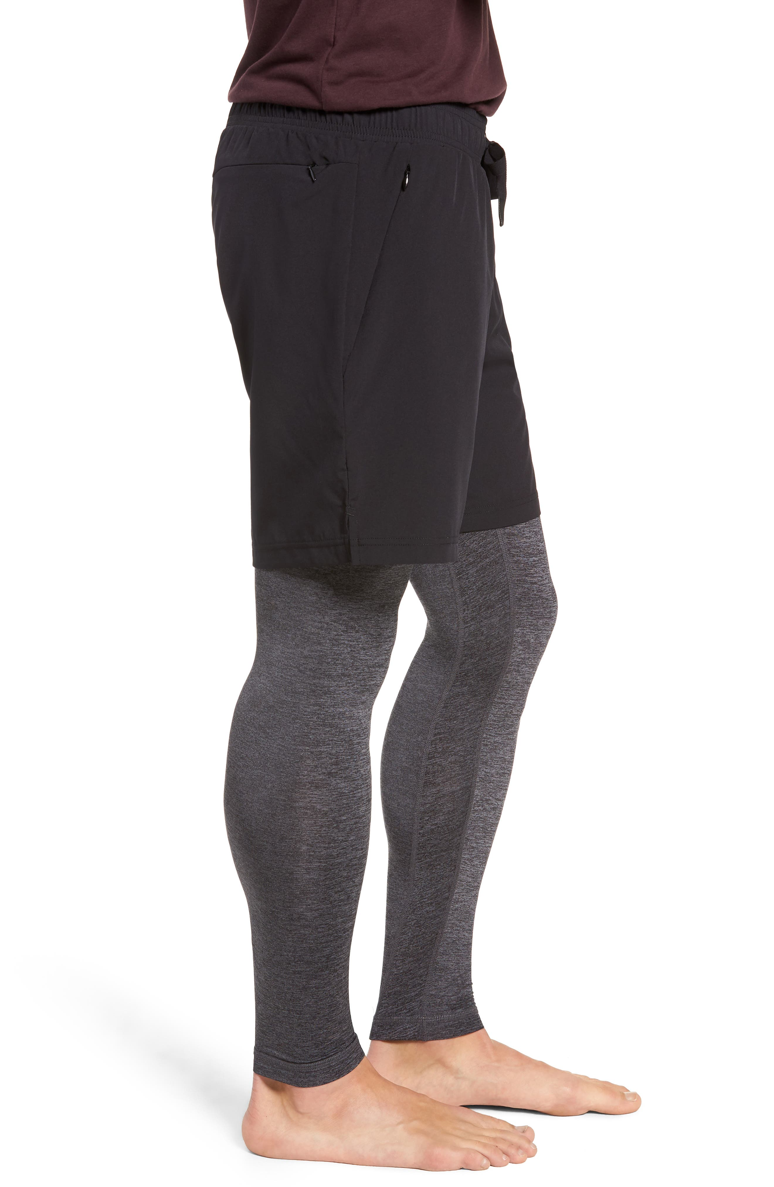 Stability 2-in-1 Athletic Tights,                             Alternate thumbnail 3, color,                             BLACK/ DARK GREY MARL