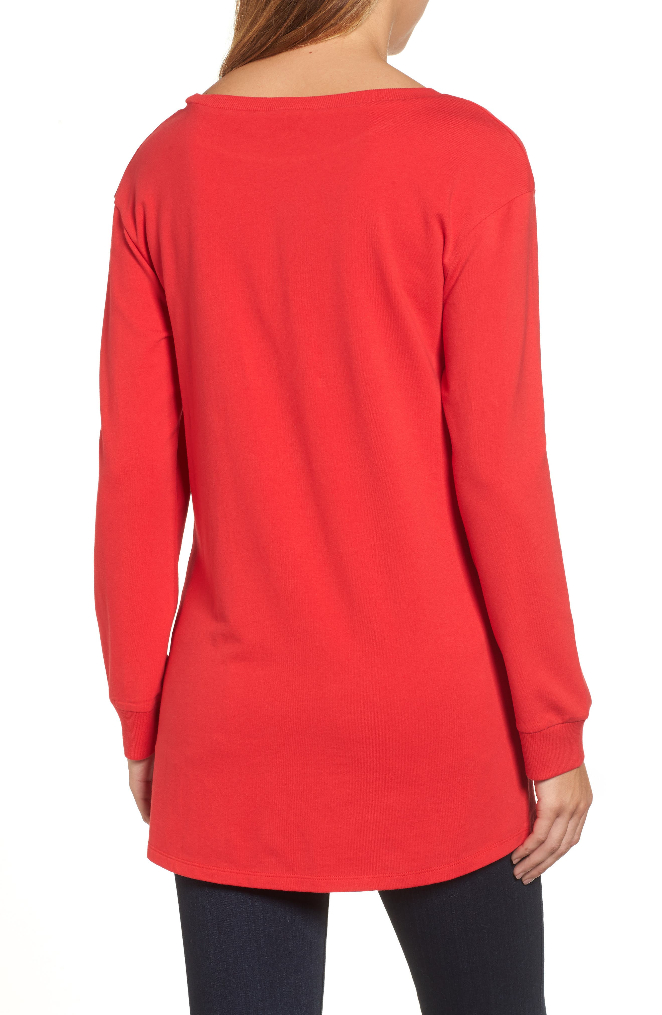 Ruched Front Tunic Sweatshirt,                             Alternate thumbnail 6, color,