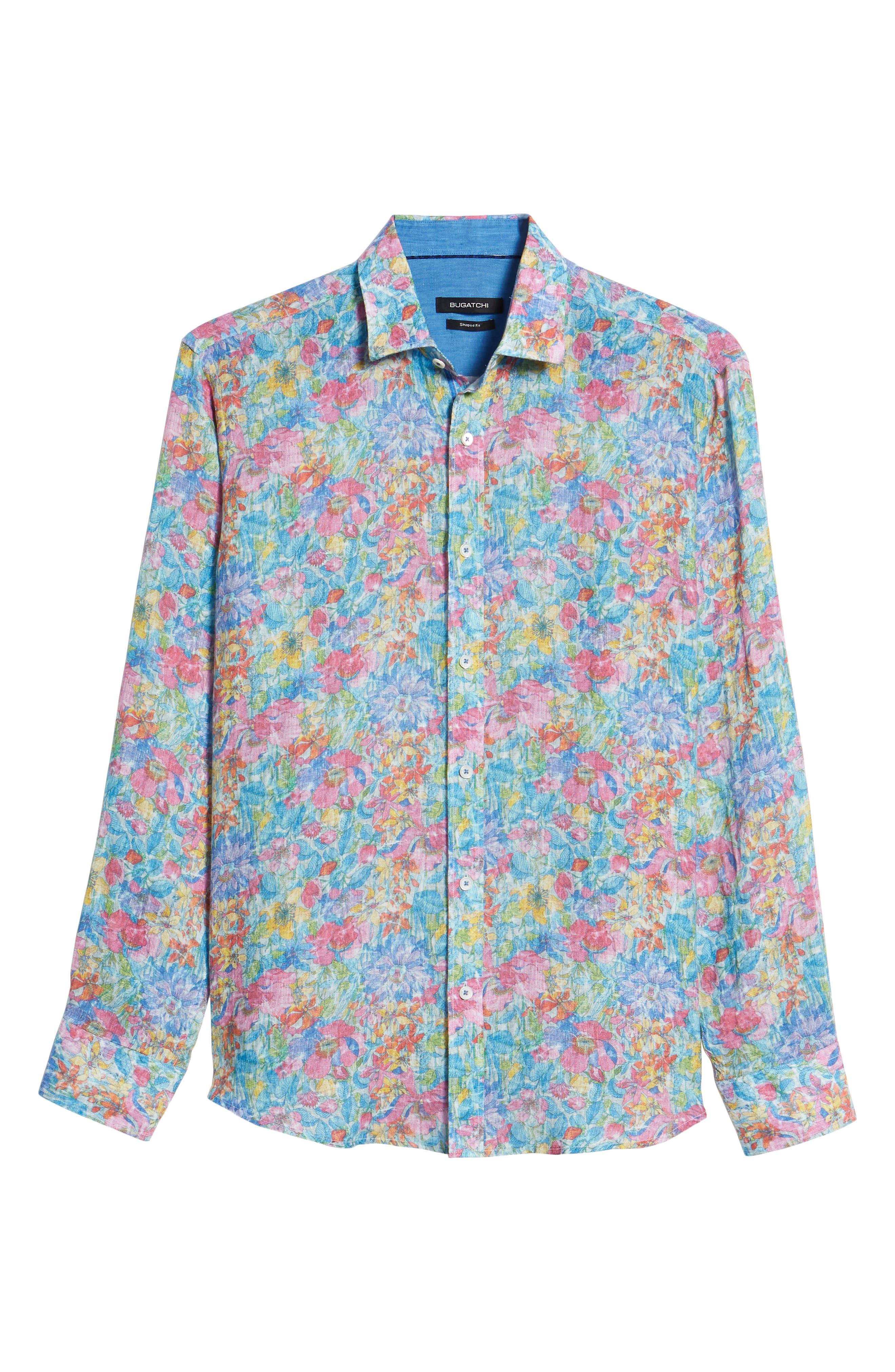 Shaped Fit Floral Linen Sport Shirt,                             Alternate thumbnail 6, color,                             329