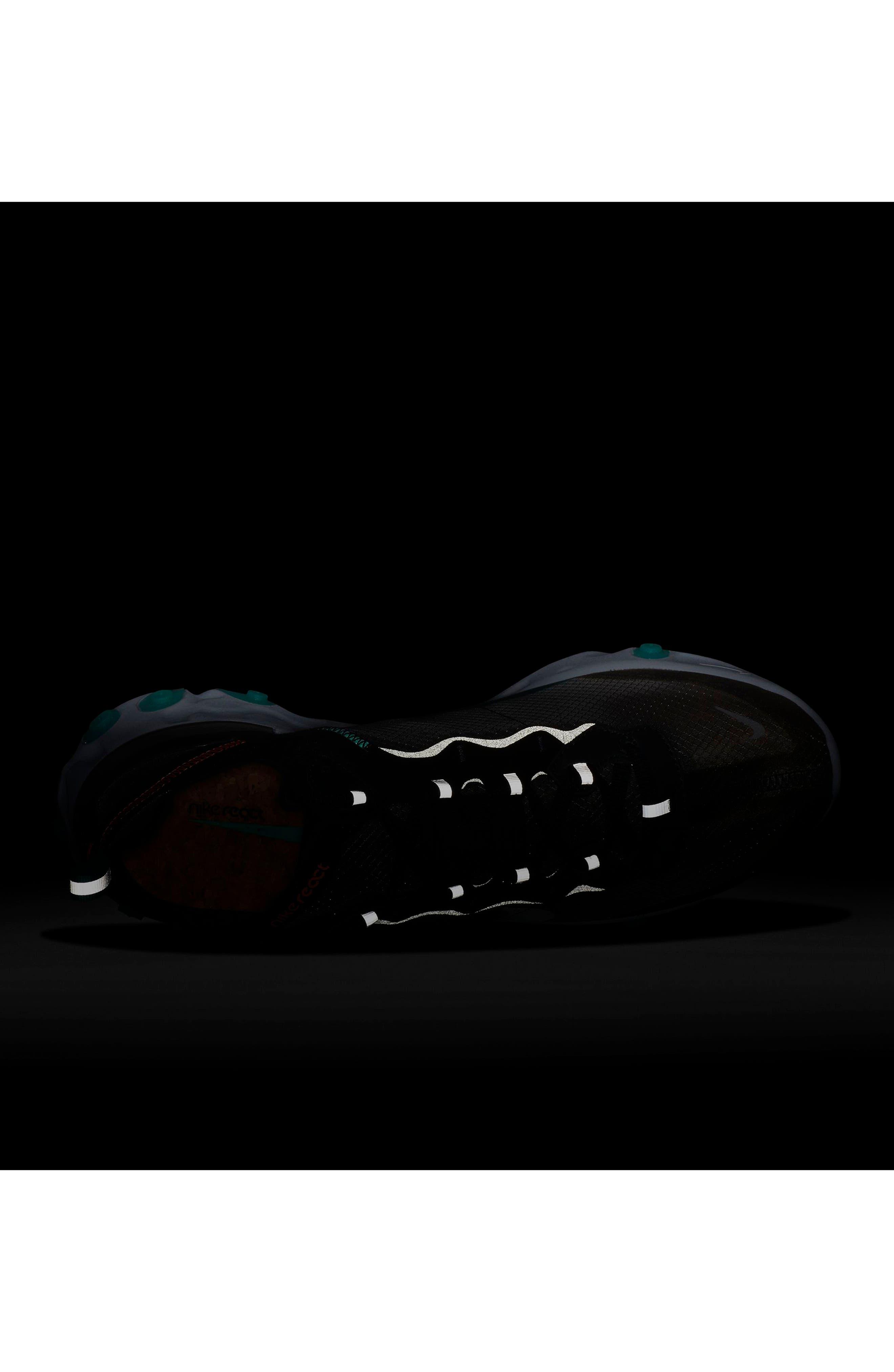 React Element 87 Sneaker,                             Alternate thumbnail 7, color,                             BLACK/ MIDNIGHT NAVY/ GREEN