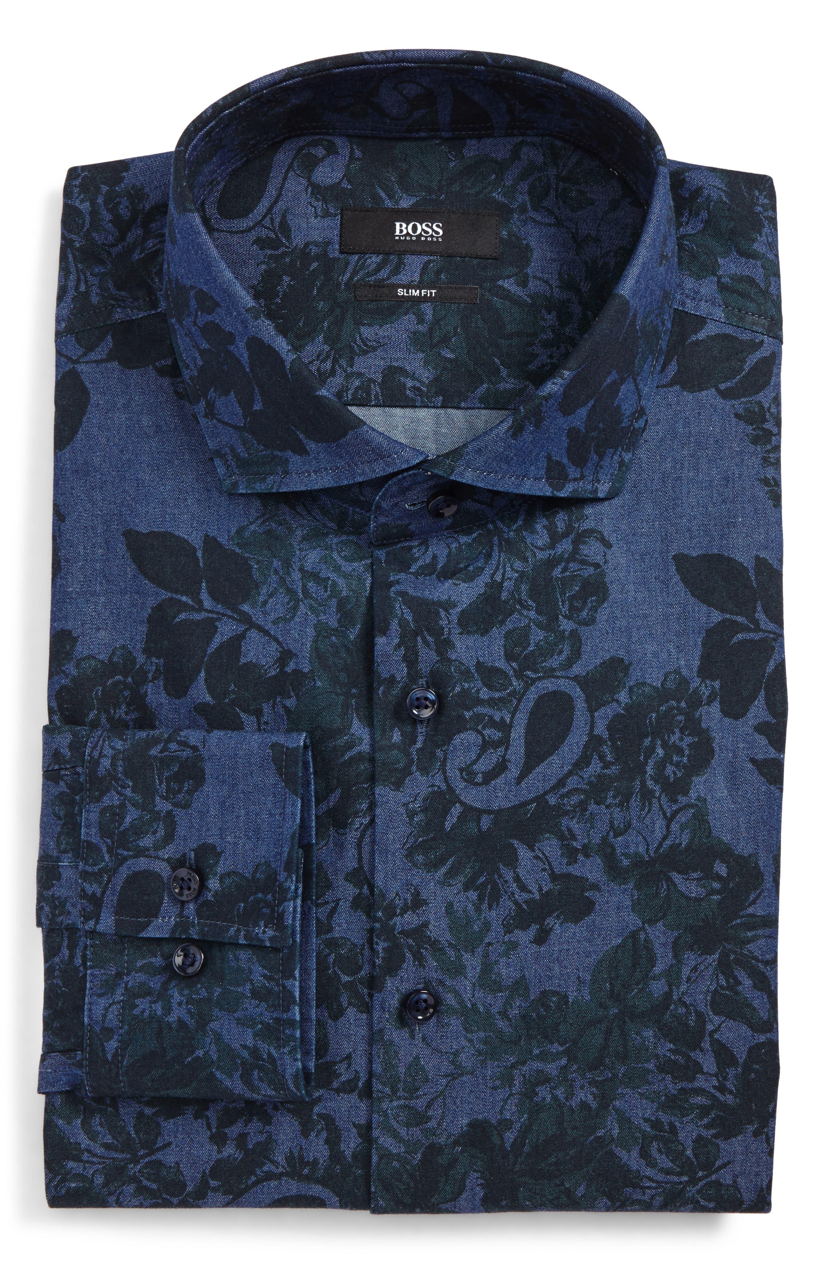 Slim Fit Floral Dress Shirt,                             Main thumbnail 1, color,                             353