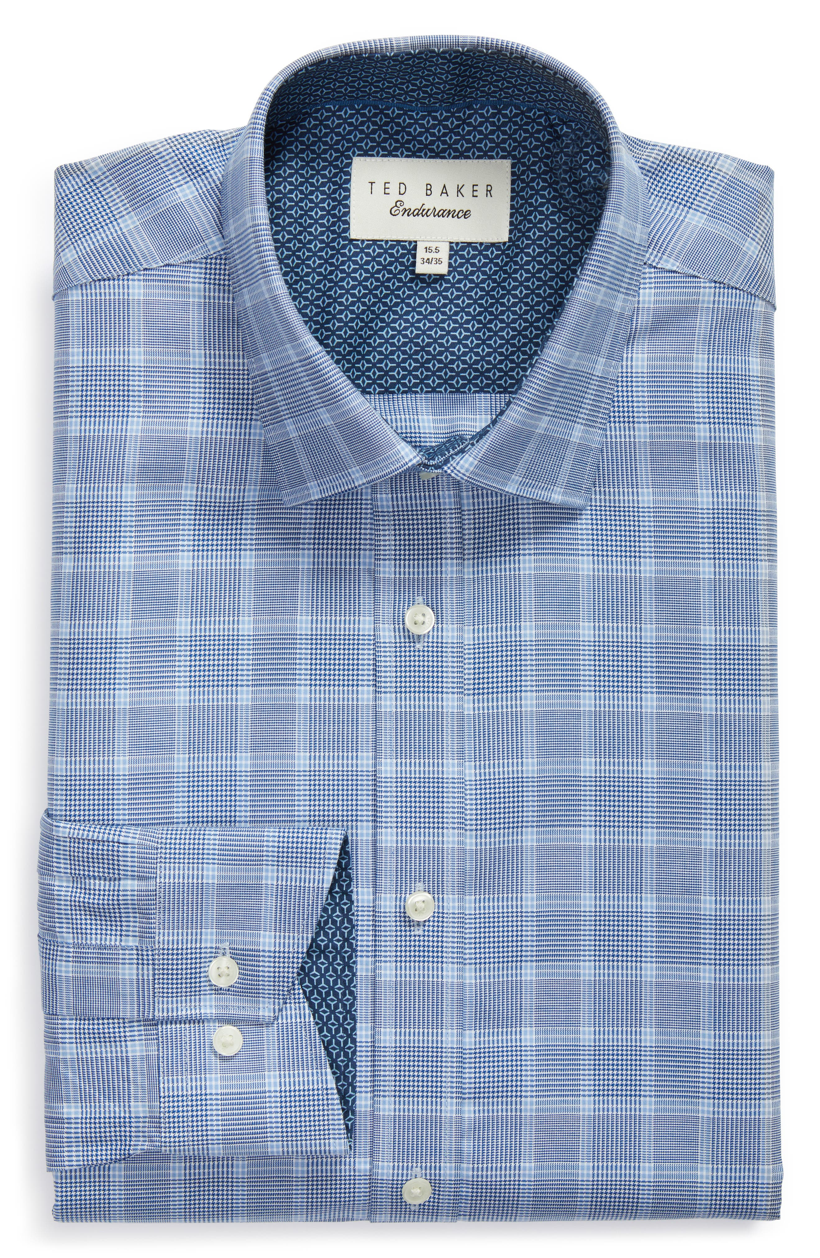 Royaltt Trim Fit Plaid Dress Shirt,                             Alternate thumbnail 5, color,                             NAVY