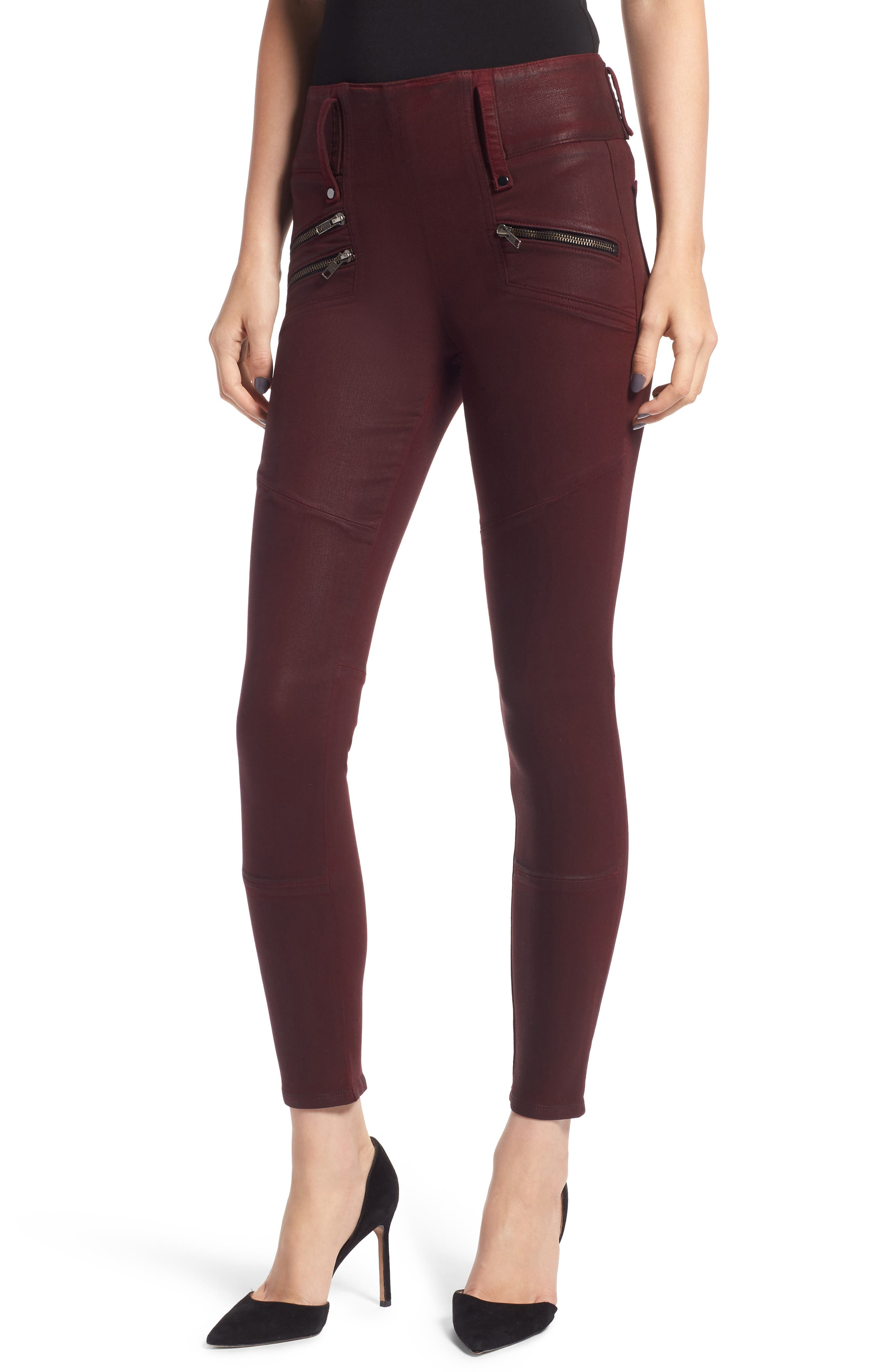 High Rise Moto Zip Skinny Jeans In Port Wax