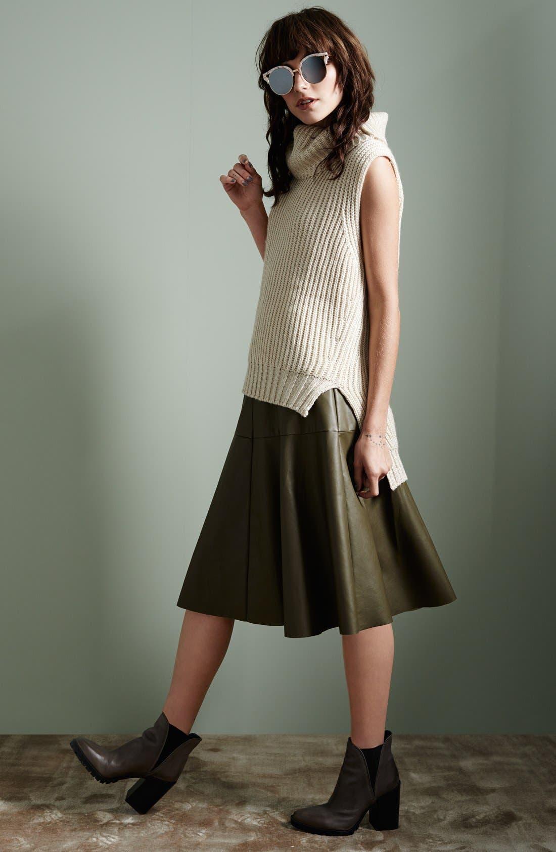 Faux Leather Midi Skirt,                             Alternate thumbnail 5, color,                             001