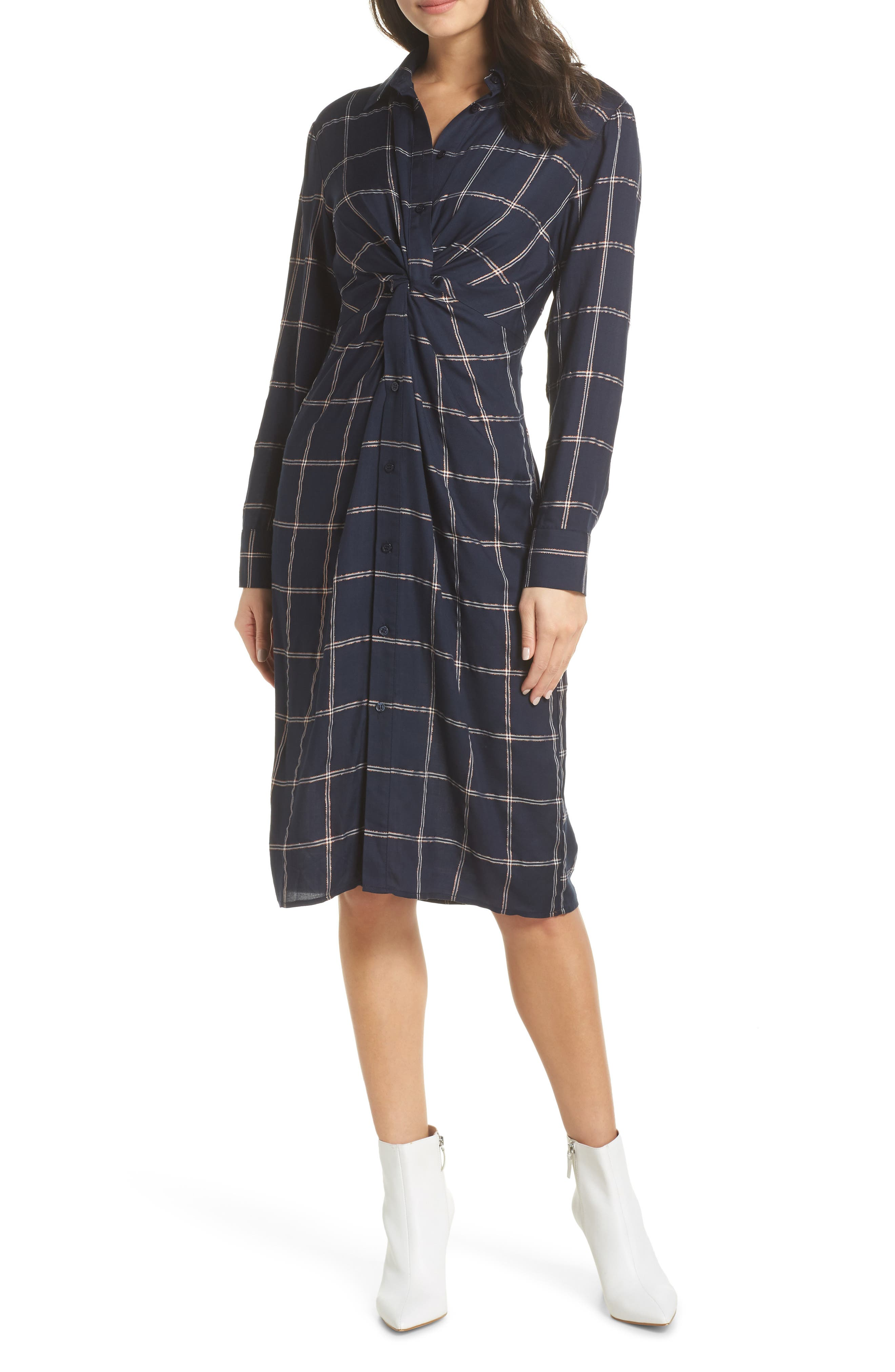 CHARLES HENRY Twist Knot Shirtdress in Navy Checker