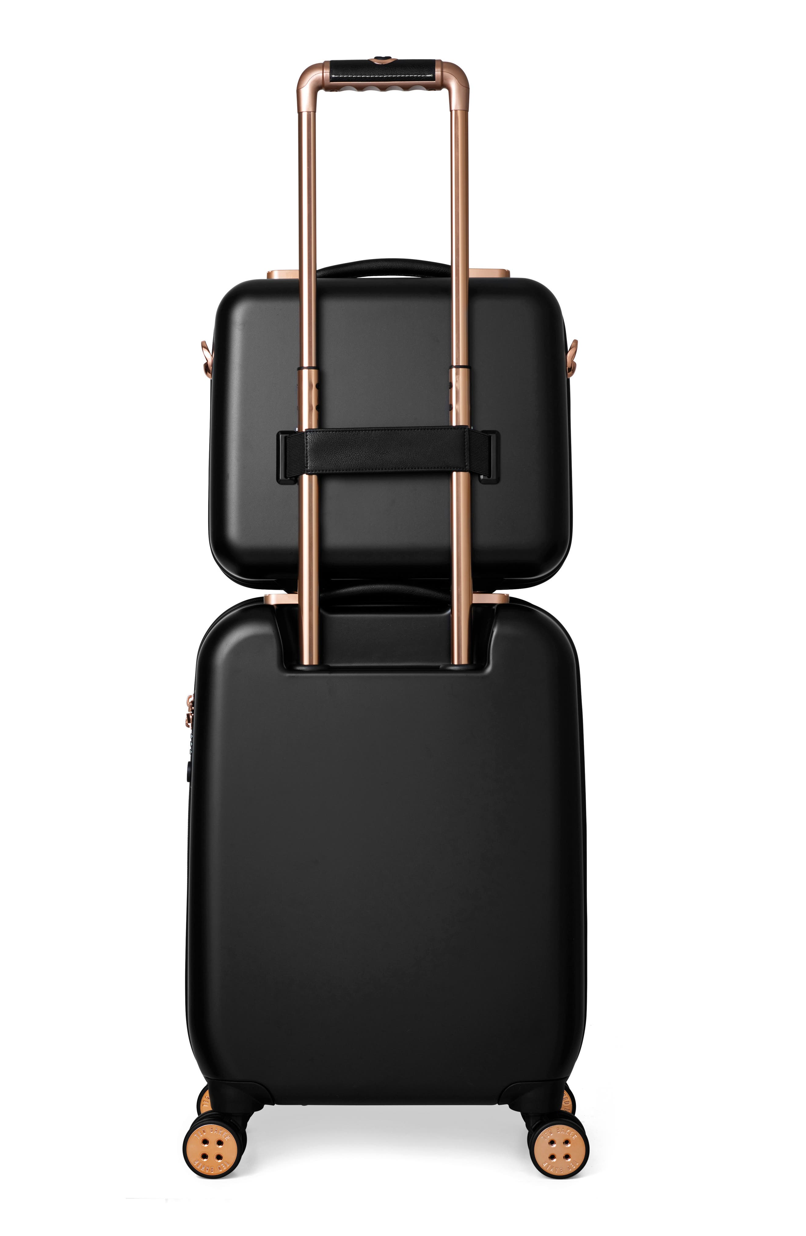 Small Beau 22-Inch Bow Embossed Four-Wheel Trolley Suitcase,                             Alternate thumbnail 12, color,                             BLACK