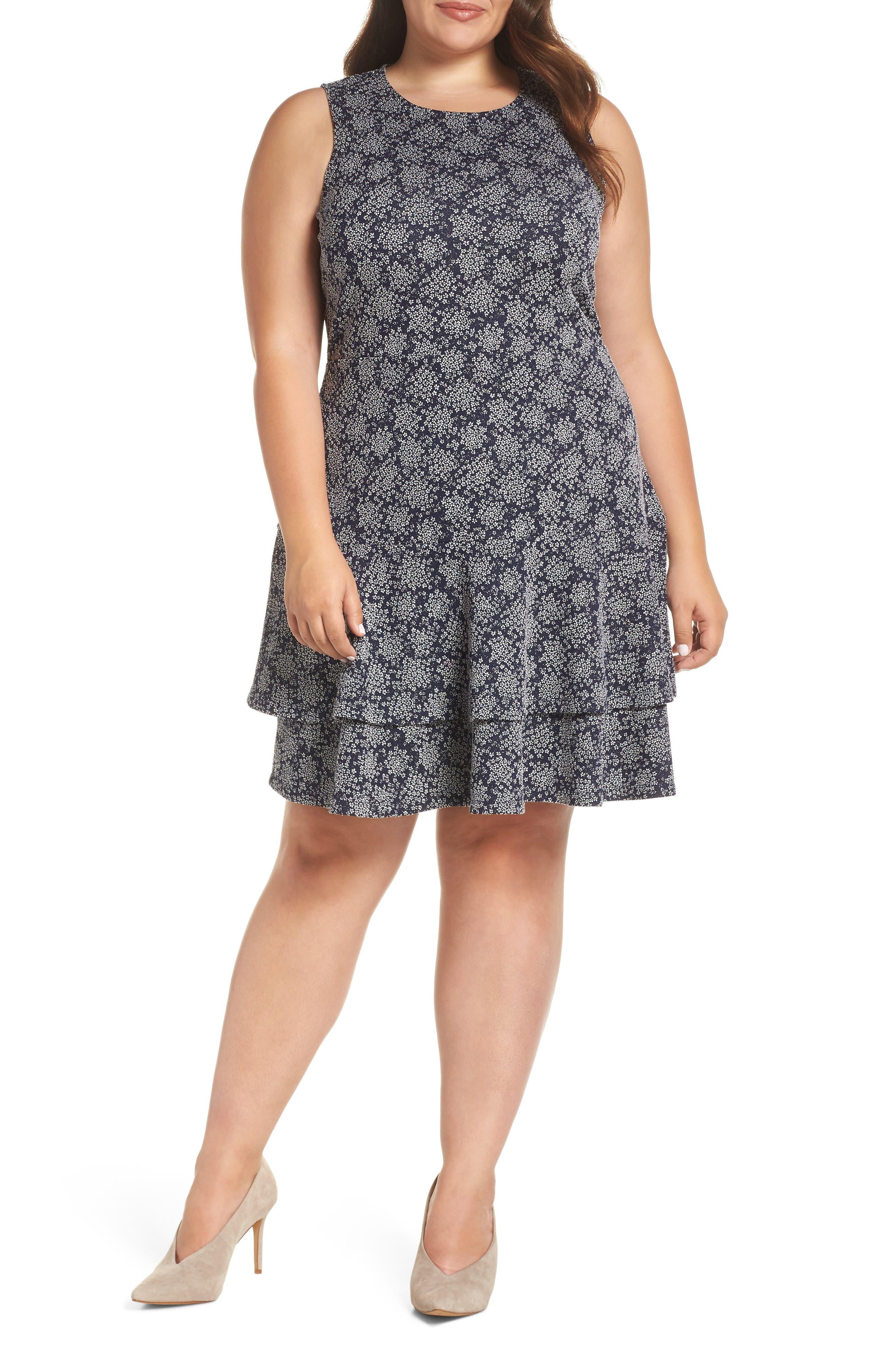 Plus Size Michael Michael Kors Floral Print Tiered Hem Dress, Blue