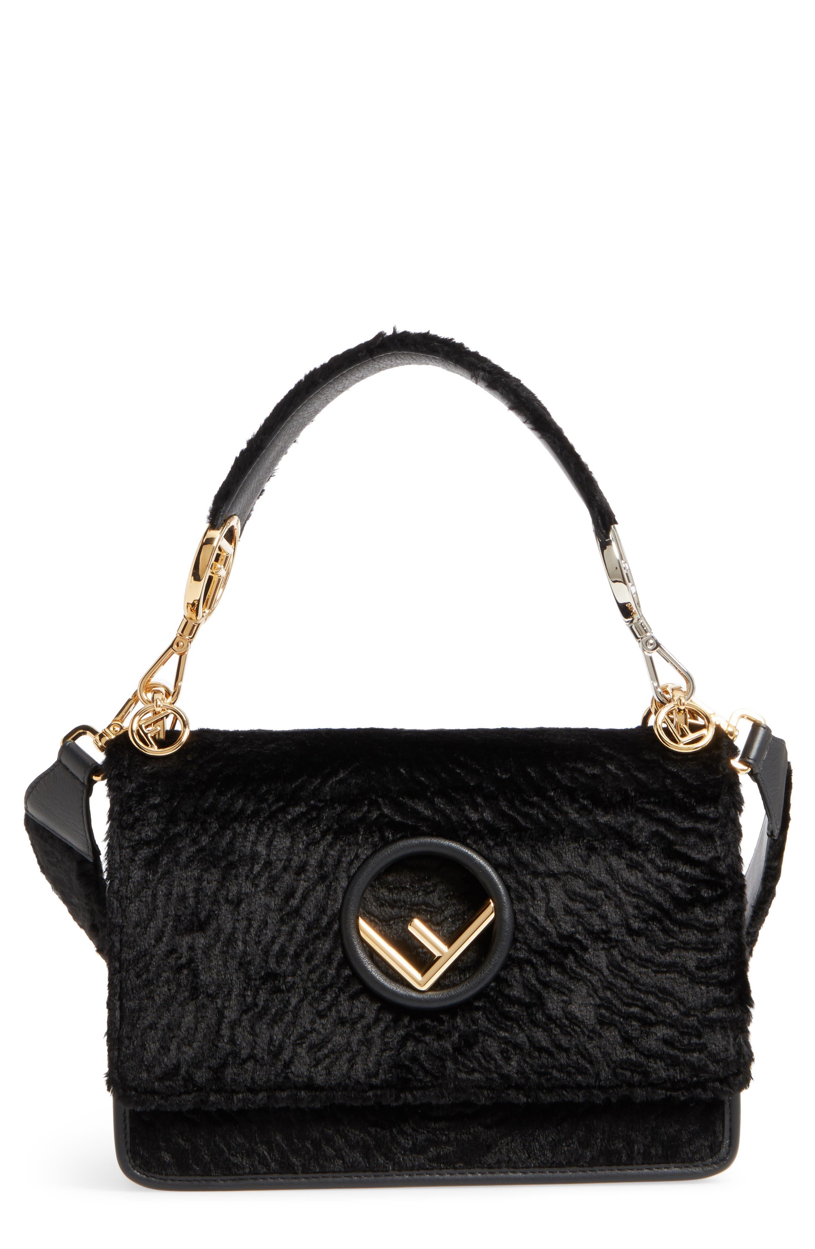 Kan I Logo Velvet Shoulder Bag,                         Main,                         color, BLACK