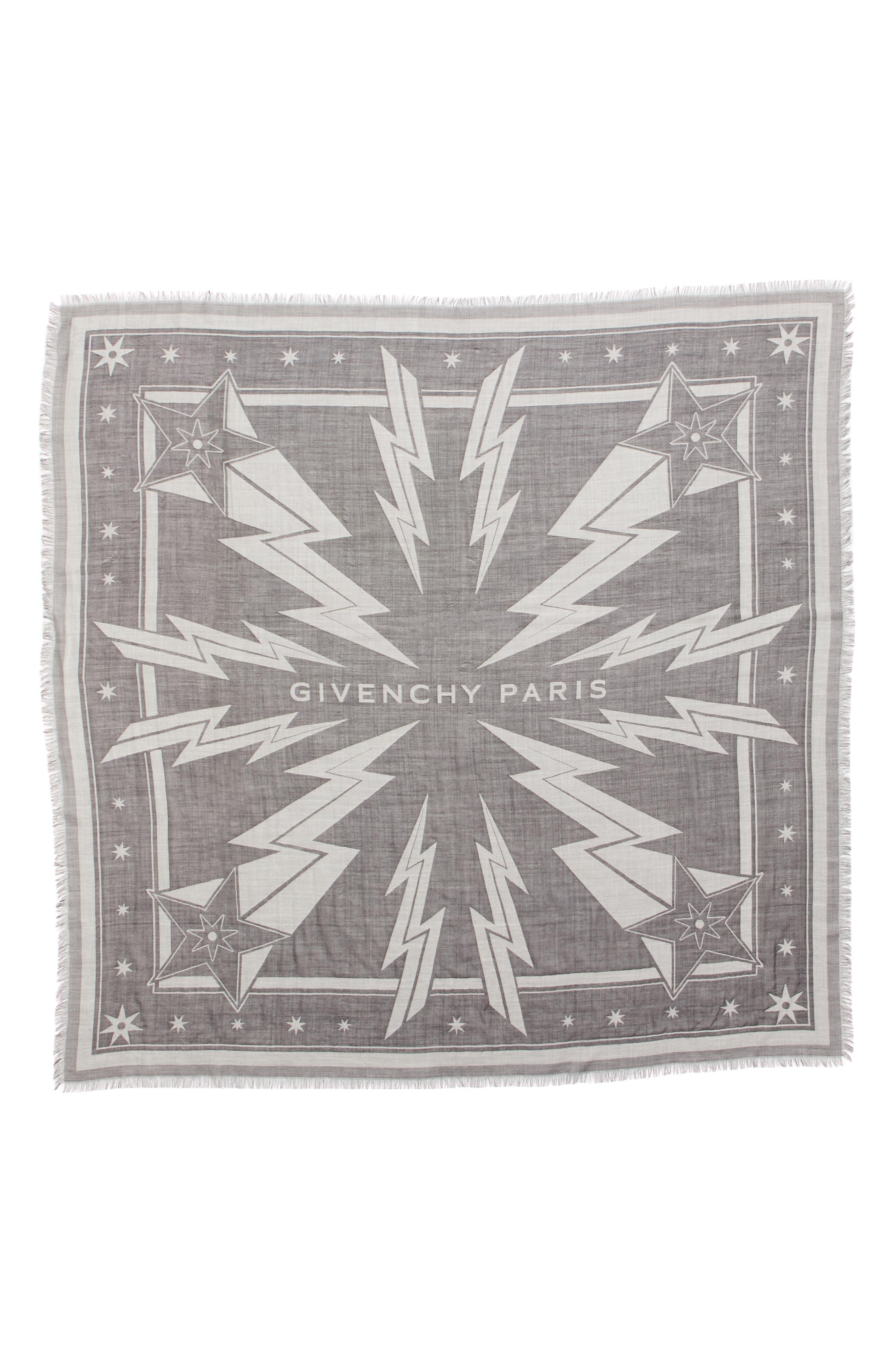 Iconic Flash Jacquard Silk & Wool Shawl,                             Main thumbnail 1, color,                             BLACK/ WHITE