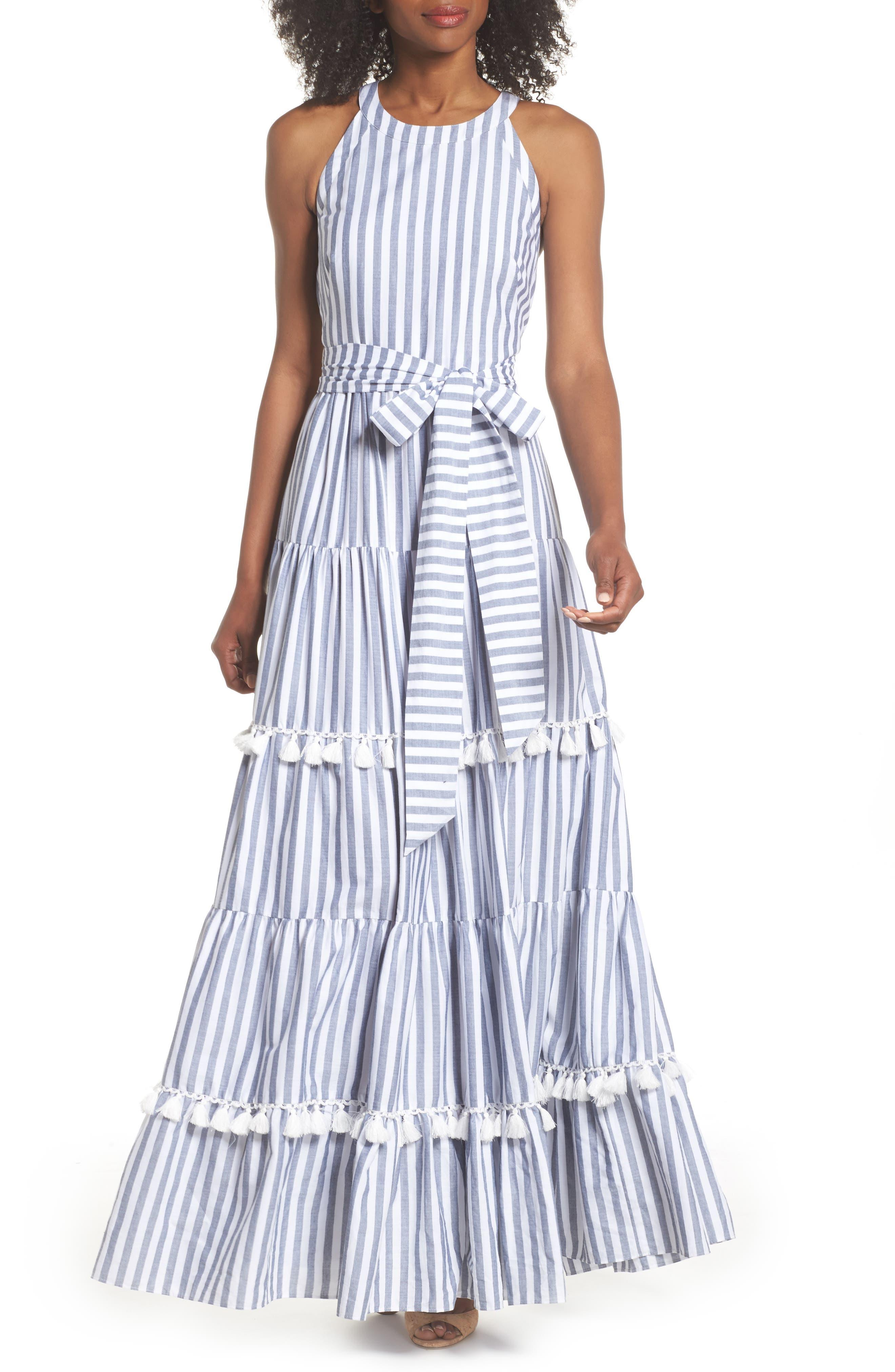 ELIZA J,                             Tiered Tassel Fringe Cotton Maxi Dress,                             Main thumbnail 1, color,                             IVORY/ GREY