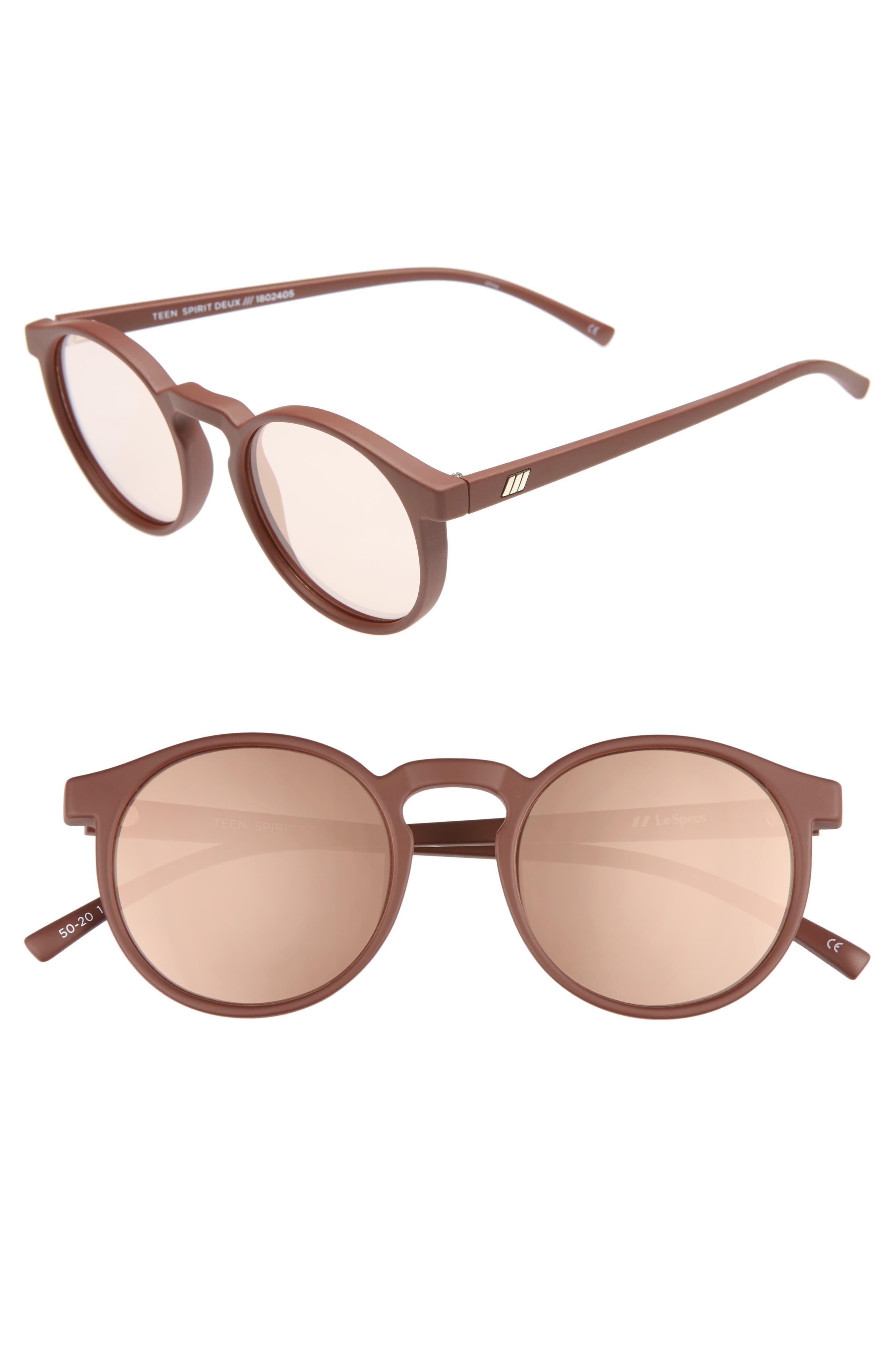 Retro Sunglasses | Vintage Glasses | New Vintage Eyeglasses Womens Le Specs Teen Spirit Deaux 50Mm Round Sunglasses - Matte Shiraz $59.00 AT vintagedancer.com