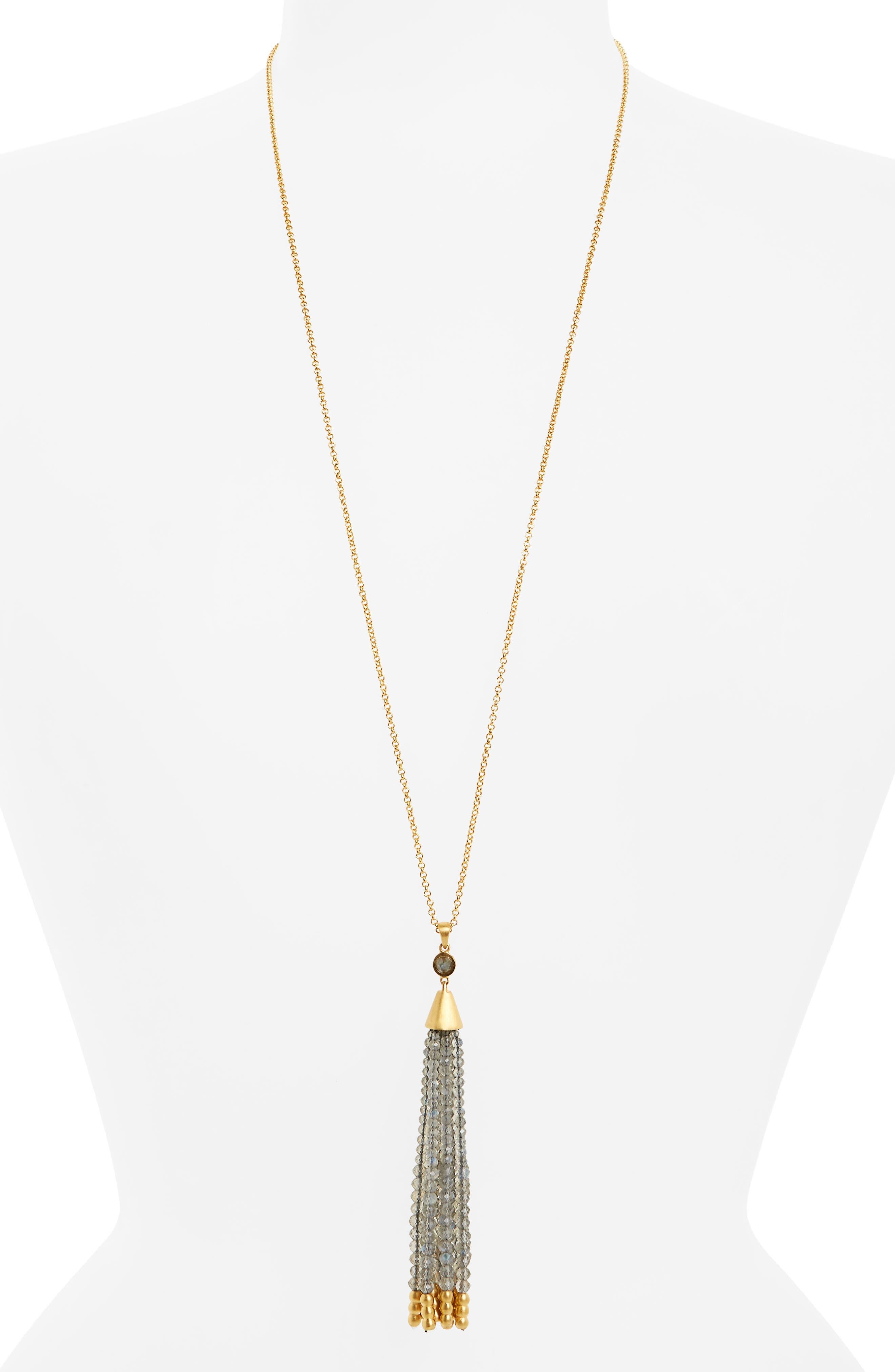 Samba Tassel Pendant Necklace,                             Main thumbnail 1, color,                             LABRADORITE/ GOLD