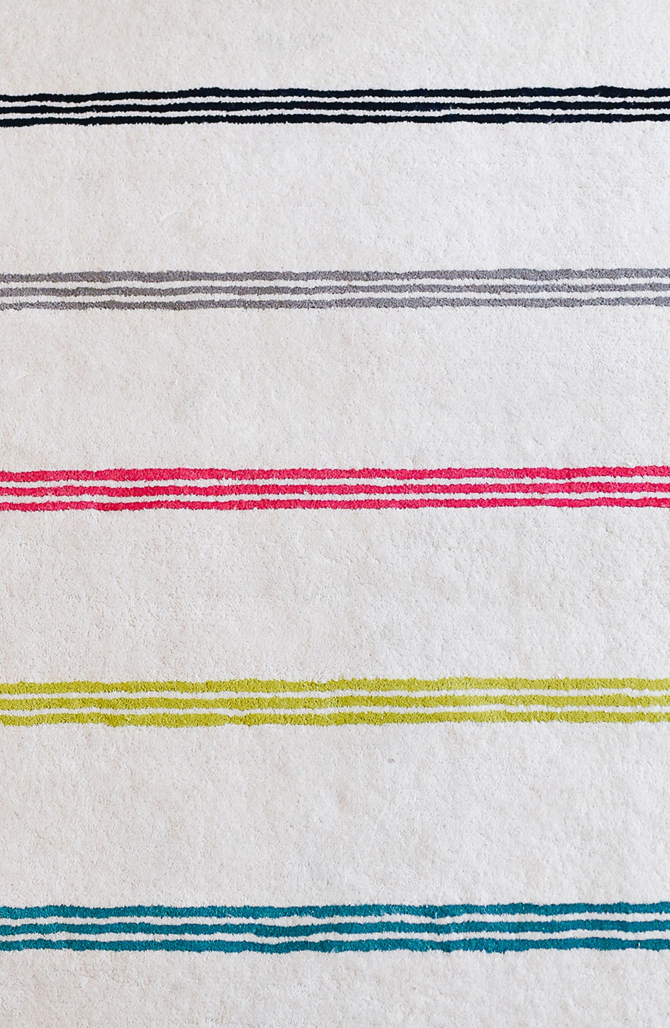 Rainbow Stripe Wool Rug,                             Alternate thumbnail 2, color,                             100