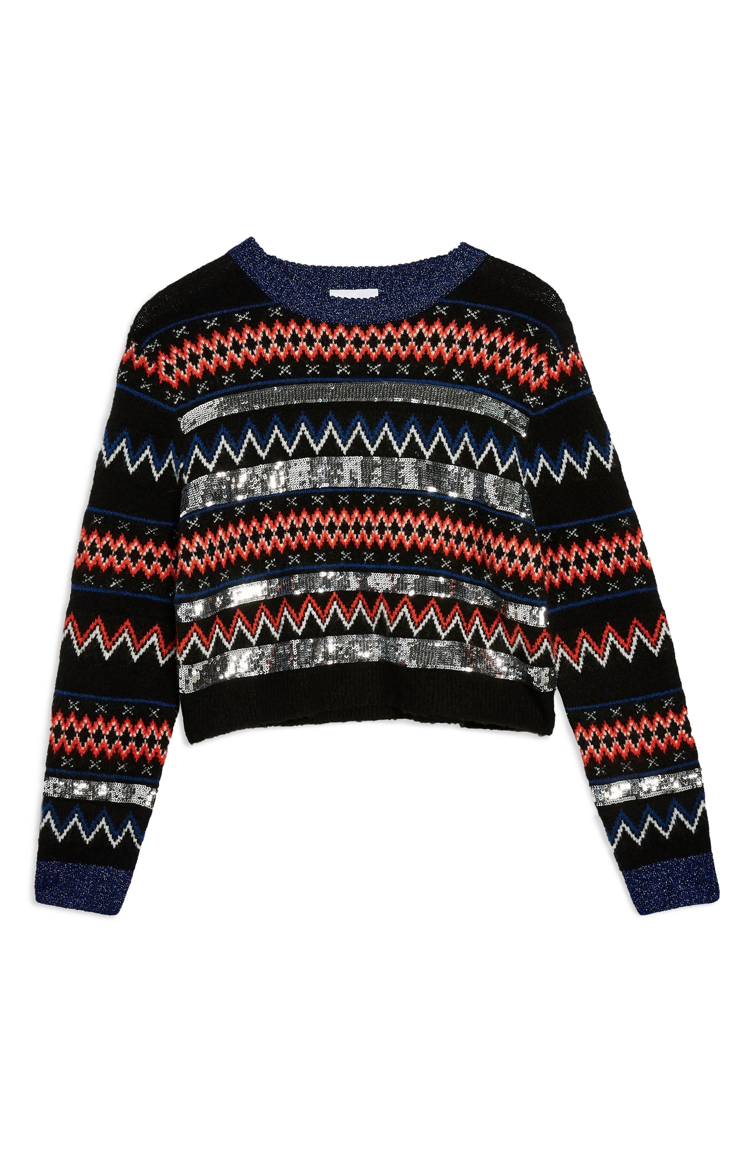 Sequin Stripe Fair Isle Sweater,                             Alternate thumbnail 3, color,                             BLACK MULTI