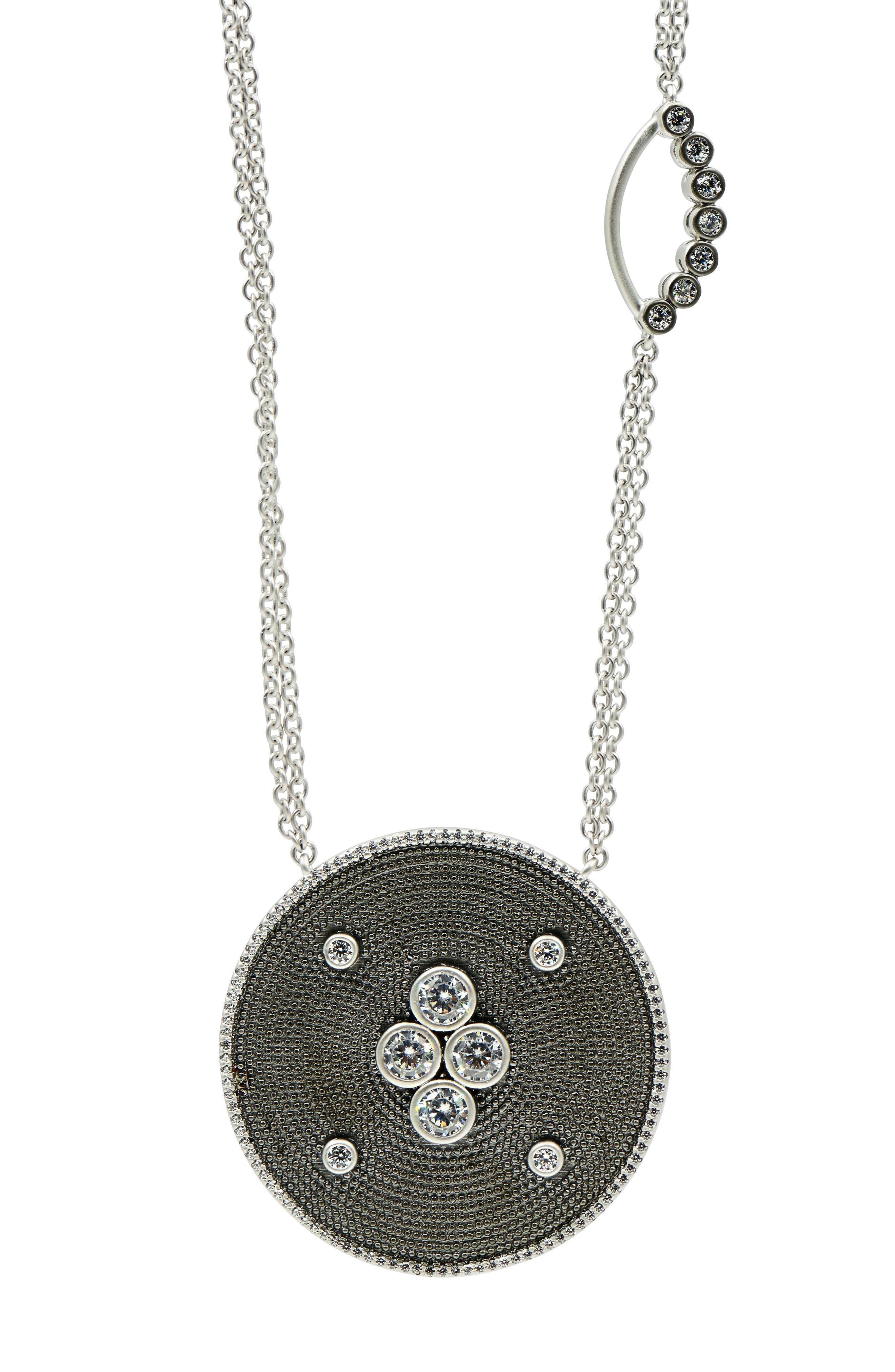 Industrial Finish Pendant Necklace,                             Alternate thumbnail 2, color,                             BLACK/ SILVER