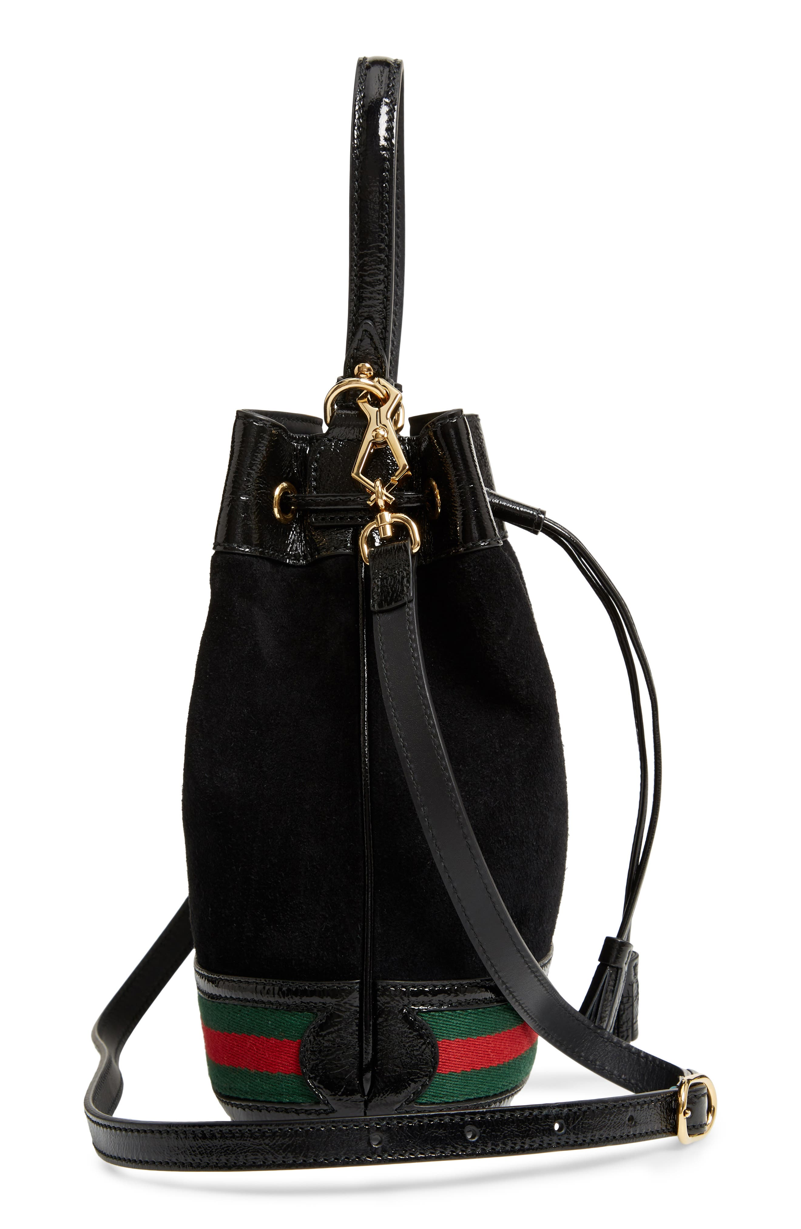 Small Ophidia Suede & Leather Bucket Bag,                             Alternate thumbnail 6, color,                             NERO/ VERT/ RED