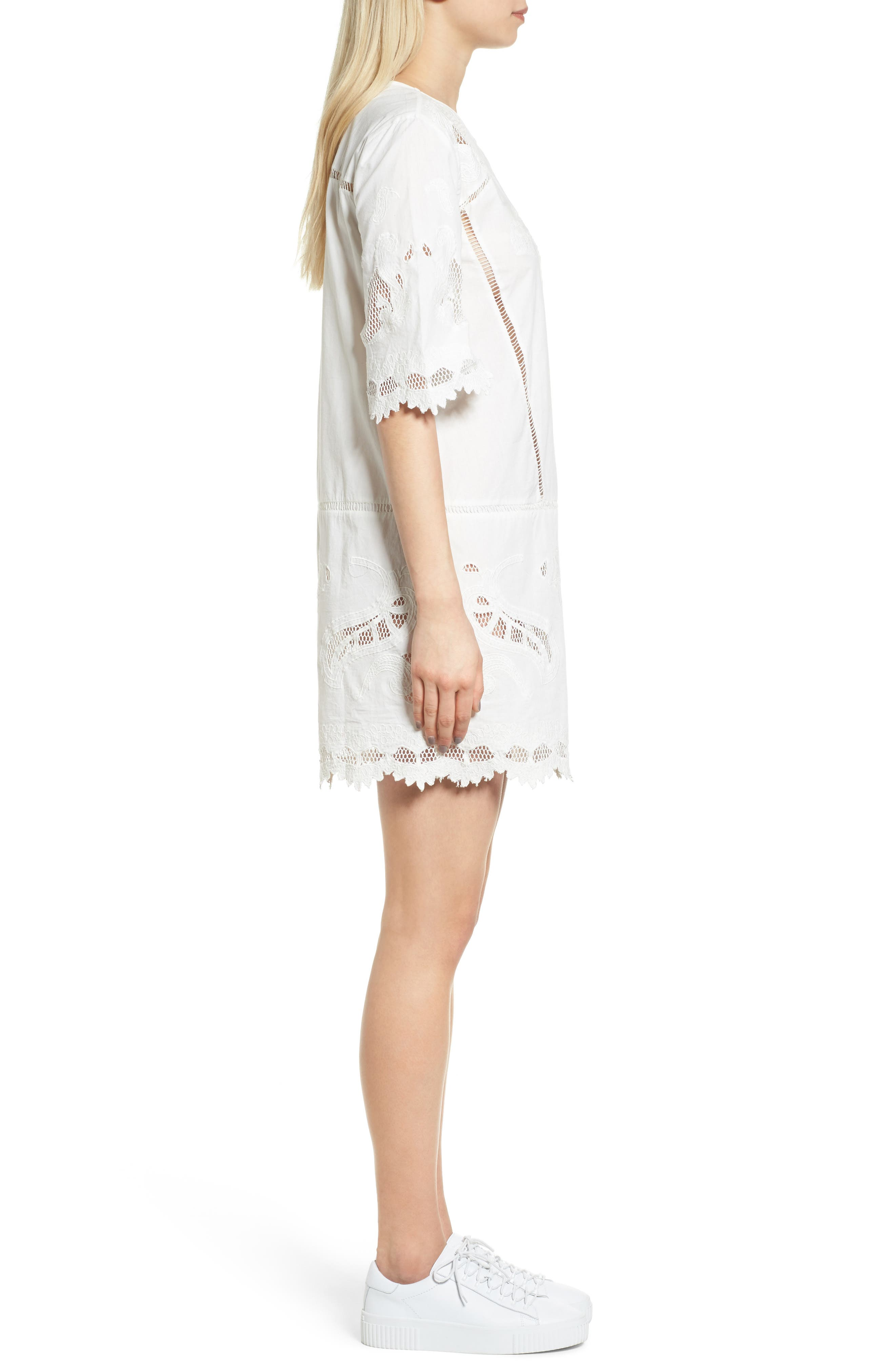 Embroidered Lace Dress,                             Alternate thumbnail 3, color,                             907