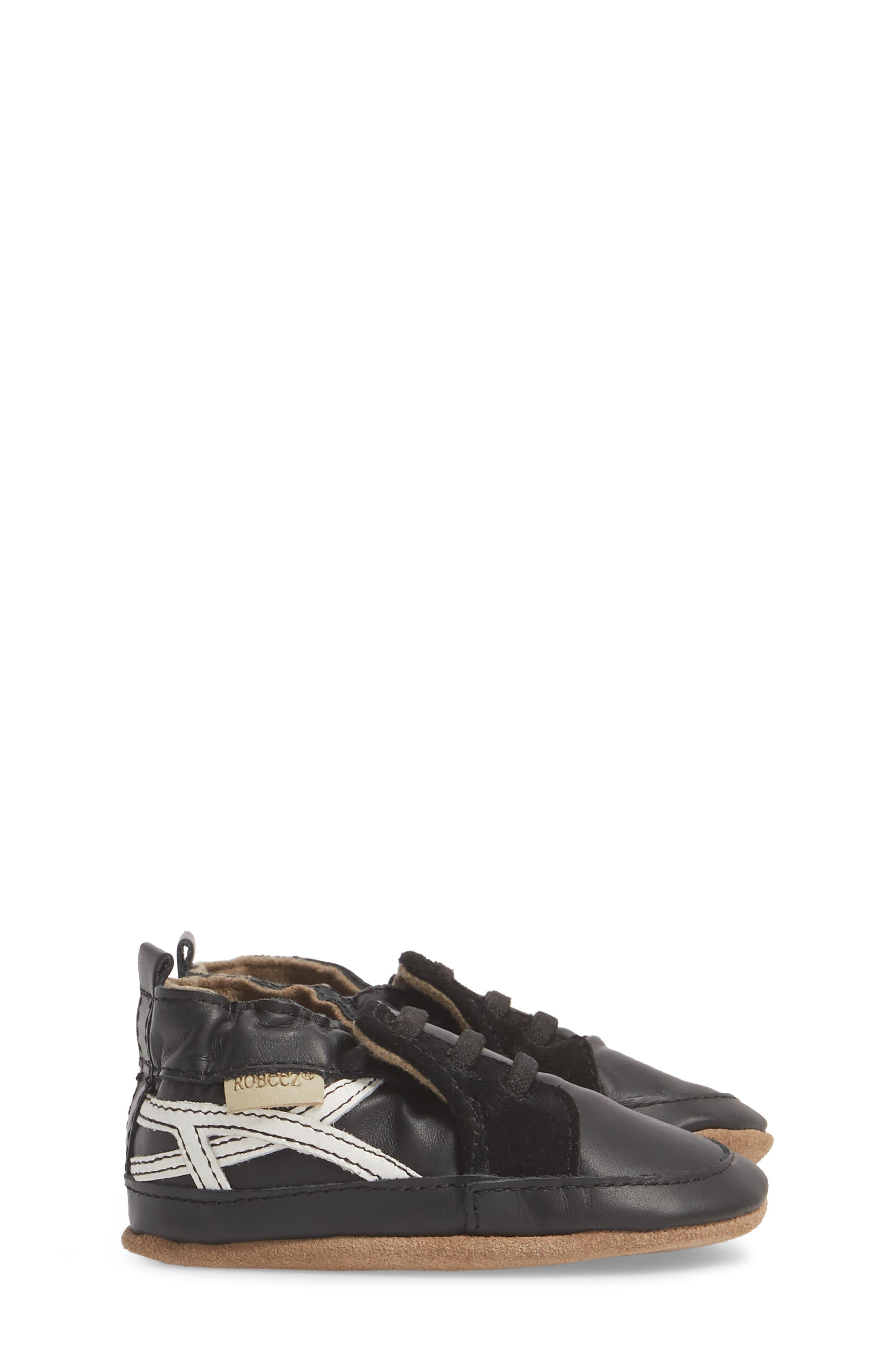 Super Sporty Sneaker Crib Shoe,                             Alternate thumbnail 3, color,                             BLACK