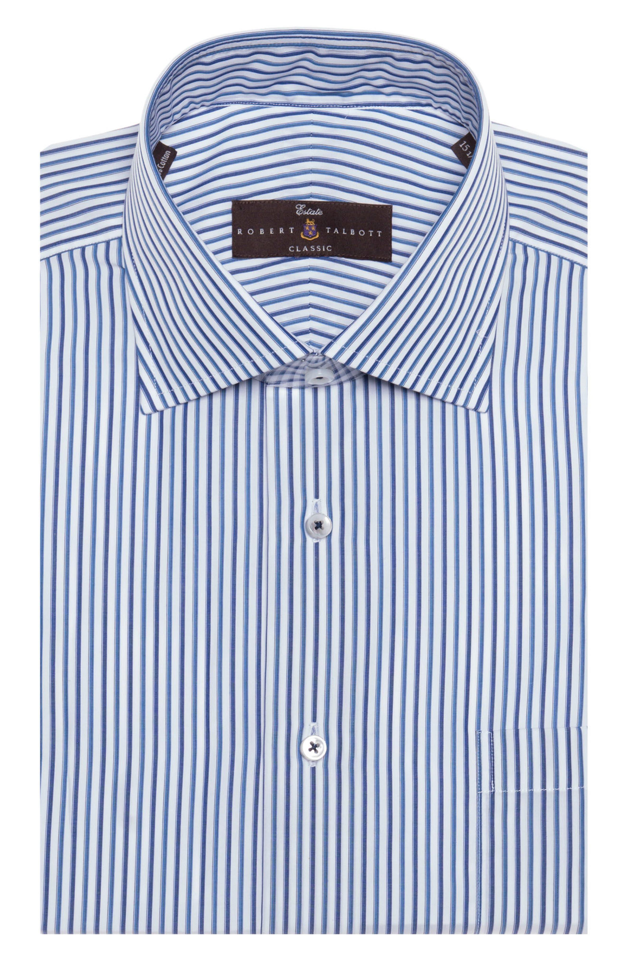 Tailored Fit Stripe Dress Shirt,                         Main,                         color, MARINE