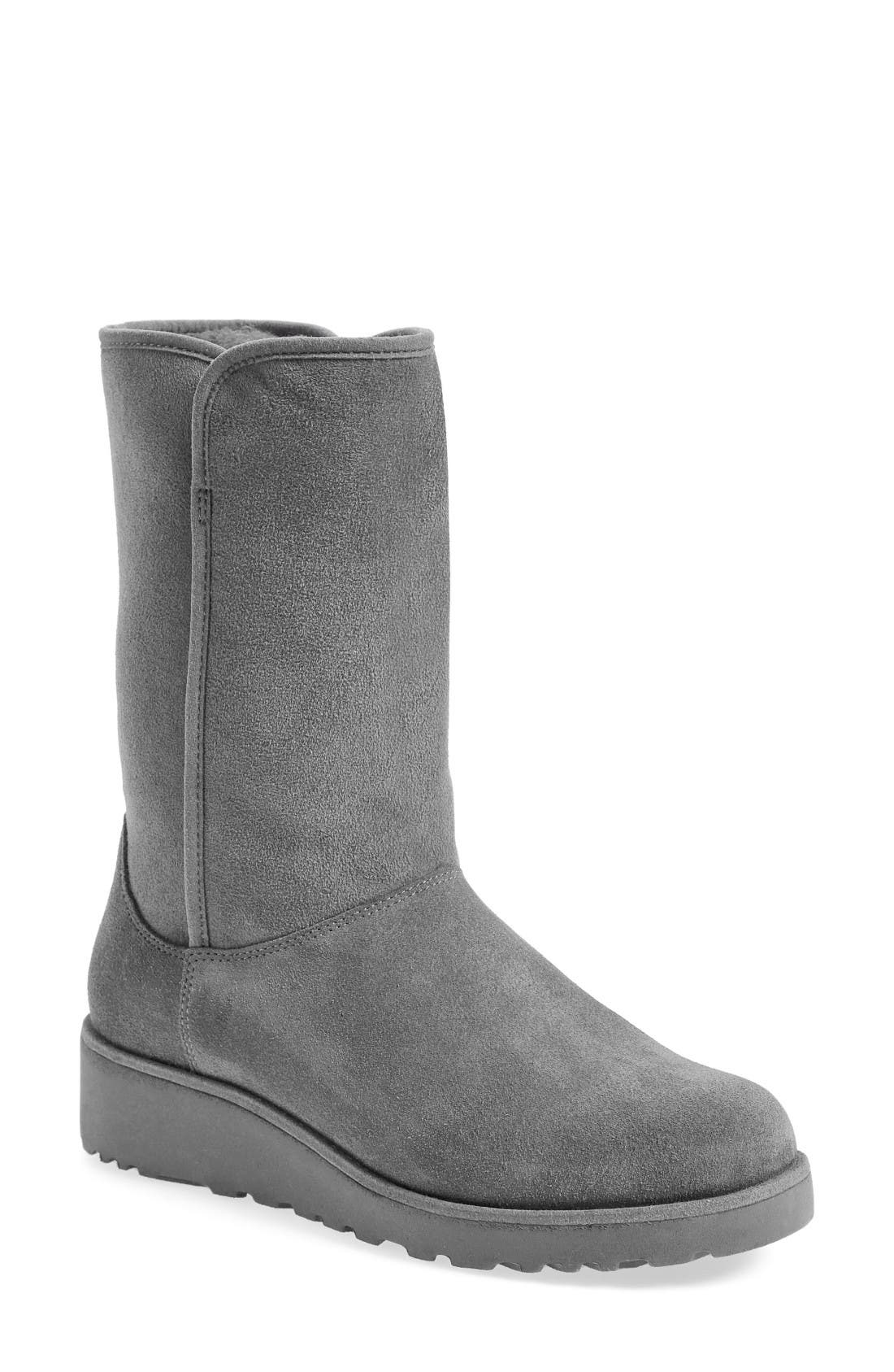 Amie - Classic Slim<sup>™</sup> Water Resistant Short Boot,                             Main thumbnail 1, color,                             GREY SUEDE