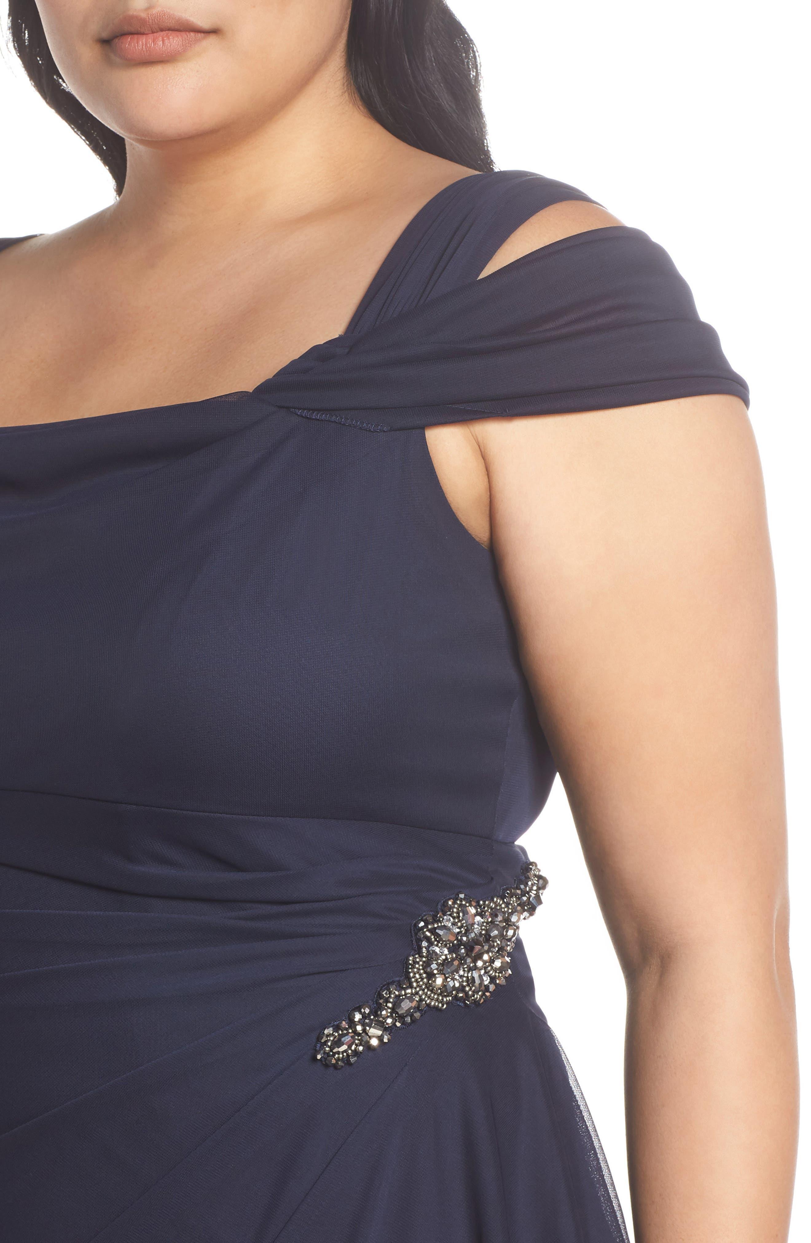 Embellished Cold Shoulder Gown,                             Alternate thumbnail 4, color,                             NAVY